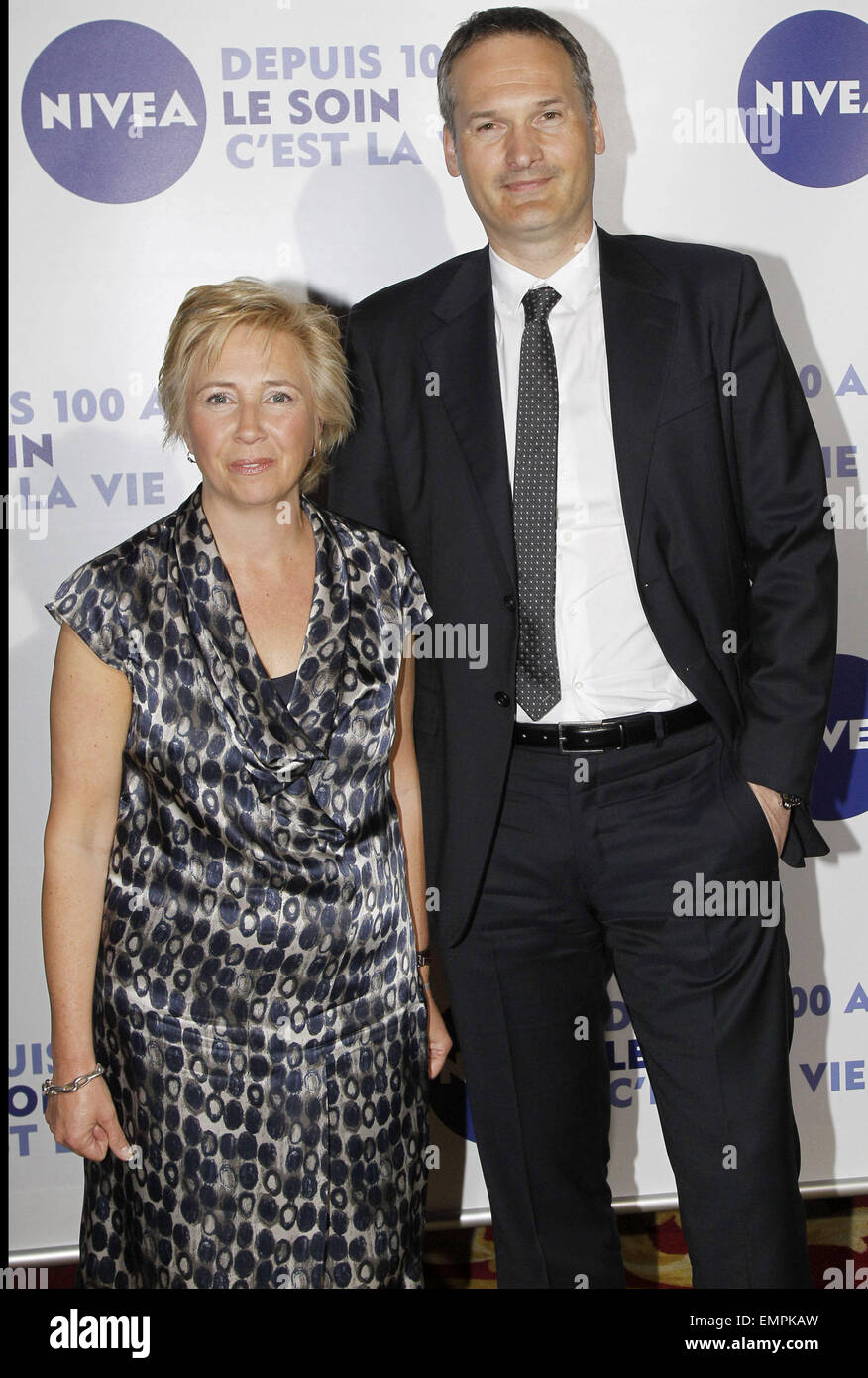 06.MAY.2011 PARIS  HELENE WILLEMS AND MARKUS PINGER  AT THE GRAND HOTEL IN PARIS FOR THE 100TH BIRTHDAY OF THE SKINCARE - Stock Image