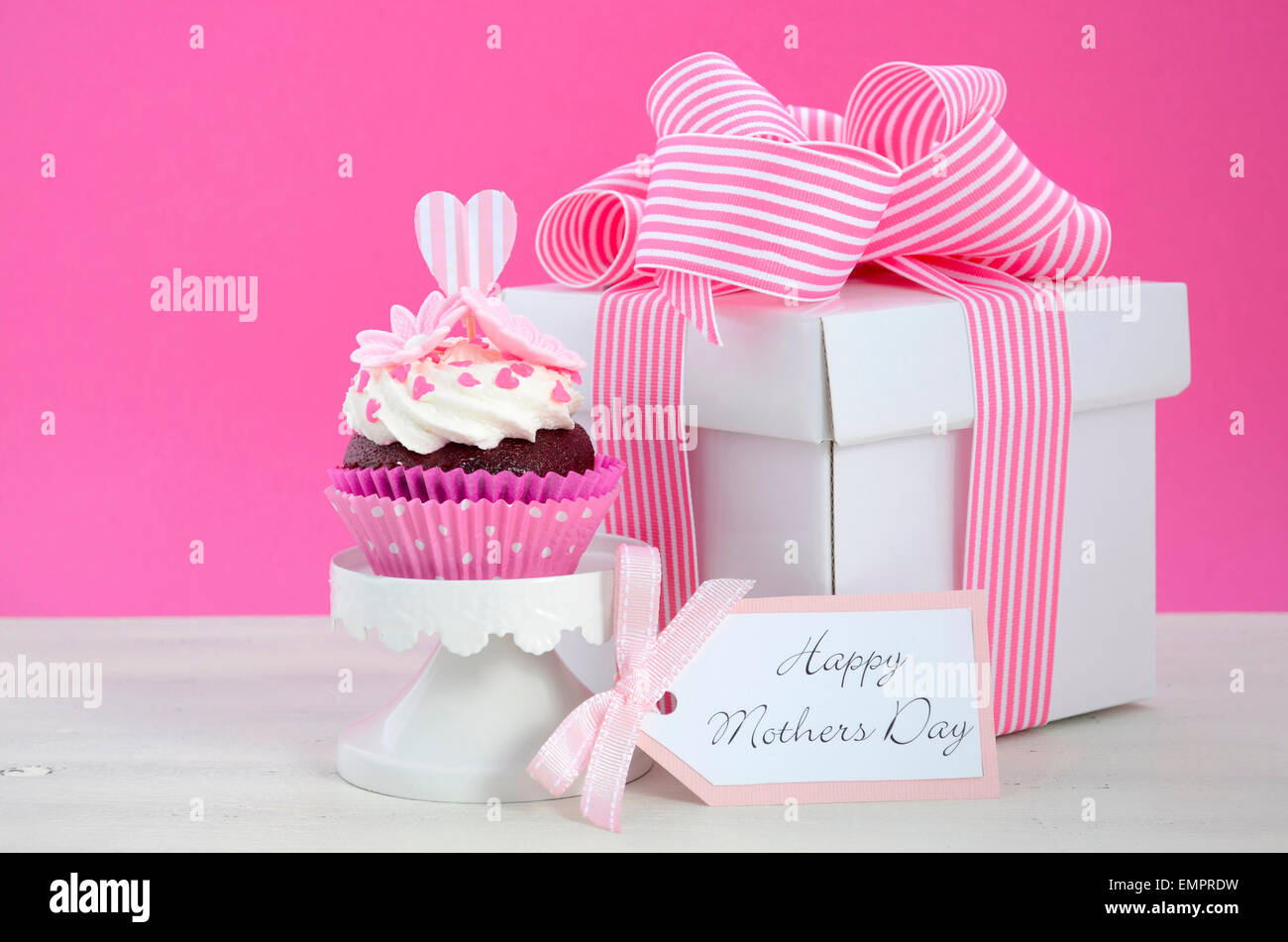 Happy Mothers Day pink and white cupcakes on retro style cake stands ...