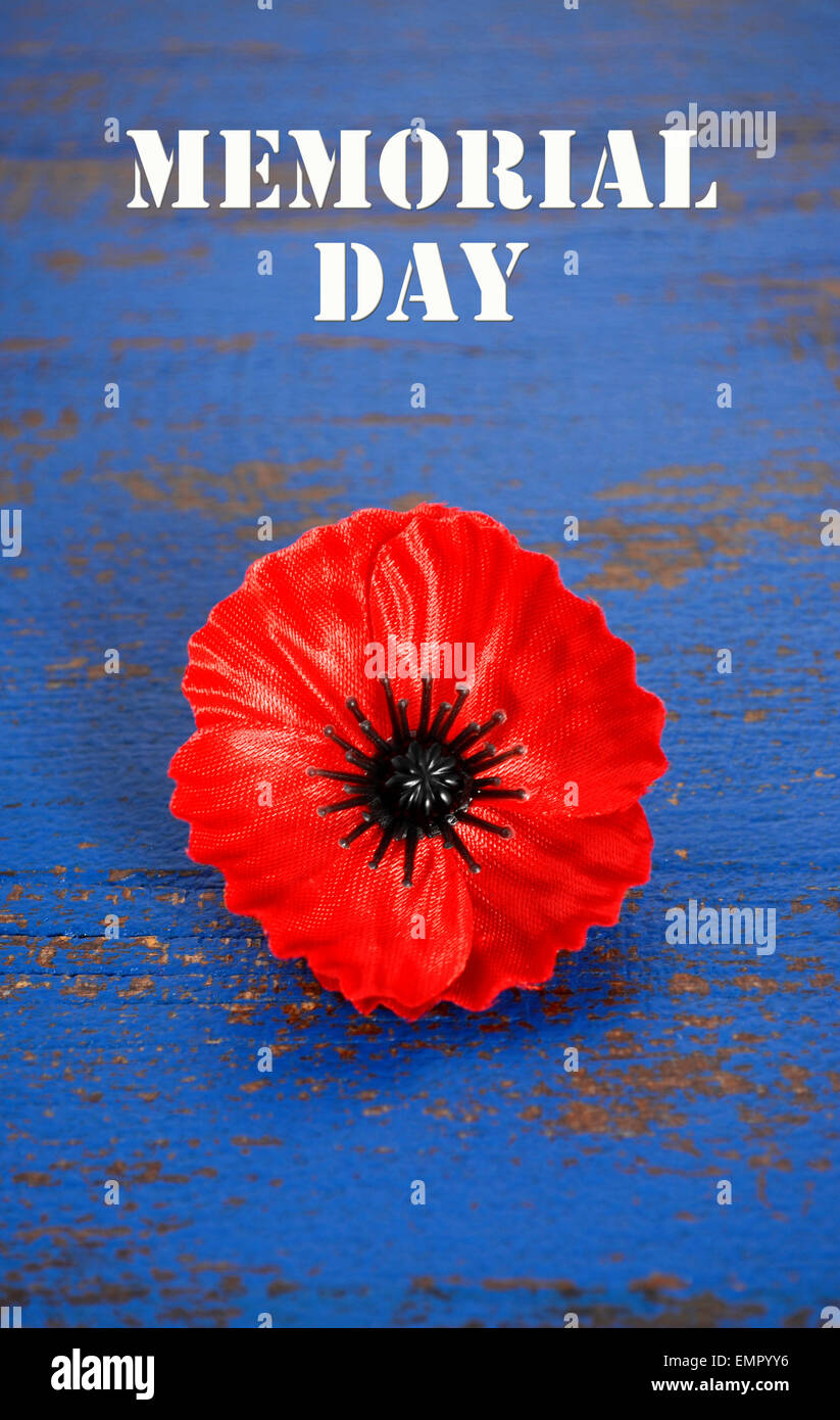 Usa memorial day concept of red remembrance poppy on dark blue stock usa memorial day concept of red remembrance poppy on dark blue vintage distressed wood table with title text publicscrutiny Gallery
