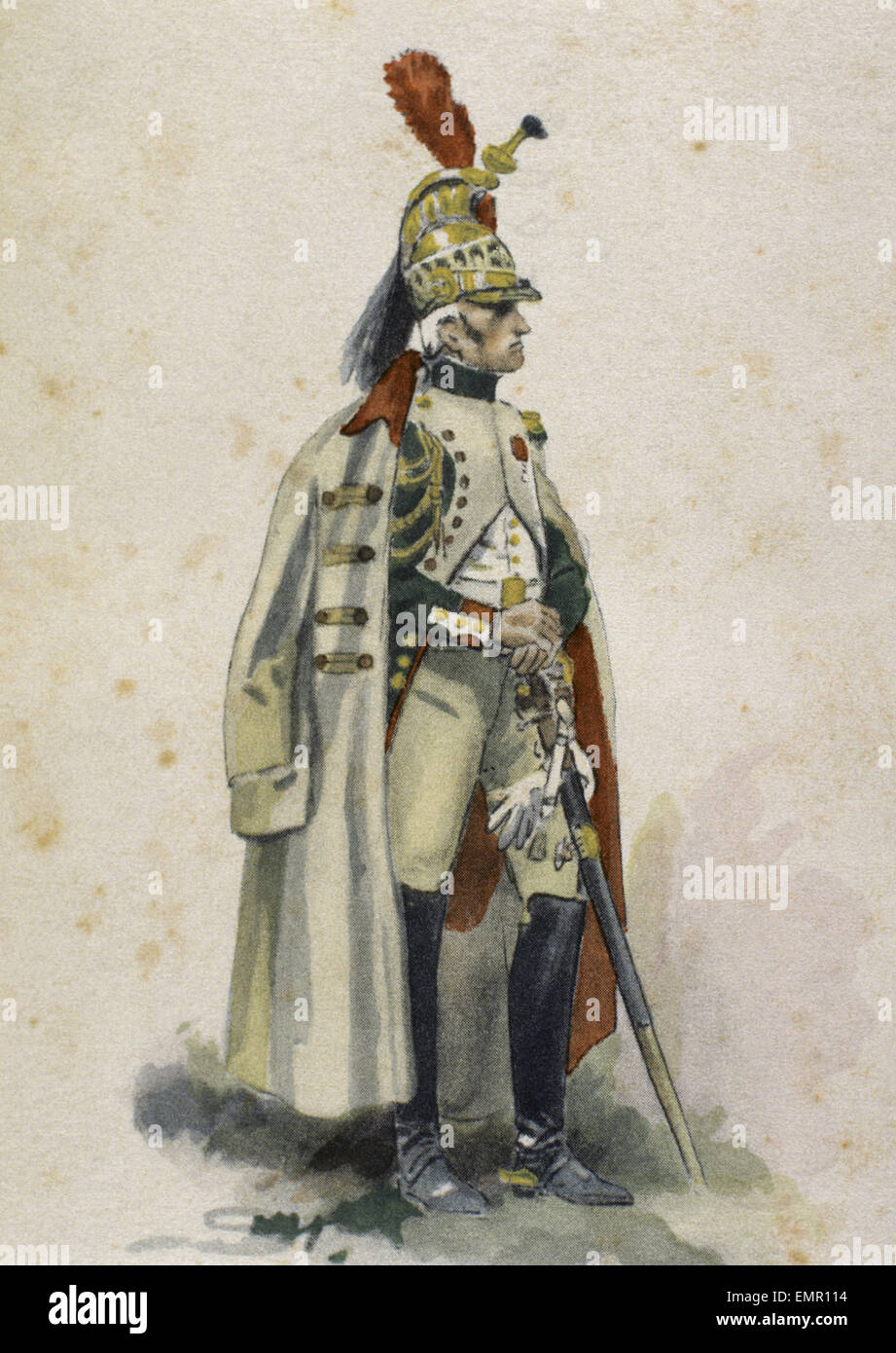 French Dragoon. French Army. Napoleonic Empire. 1807. Engraving. Colored. - Stock Image