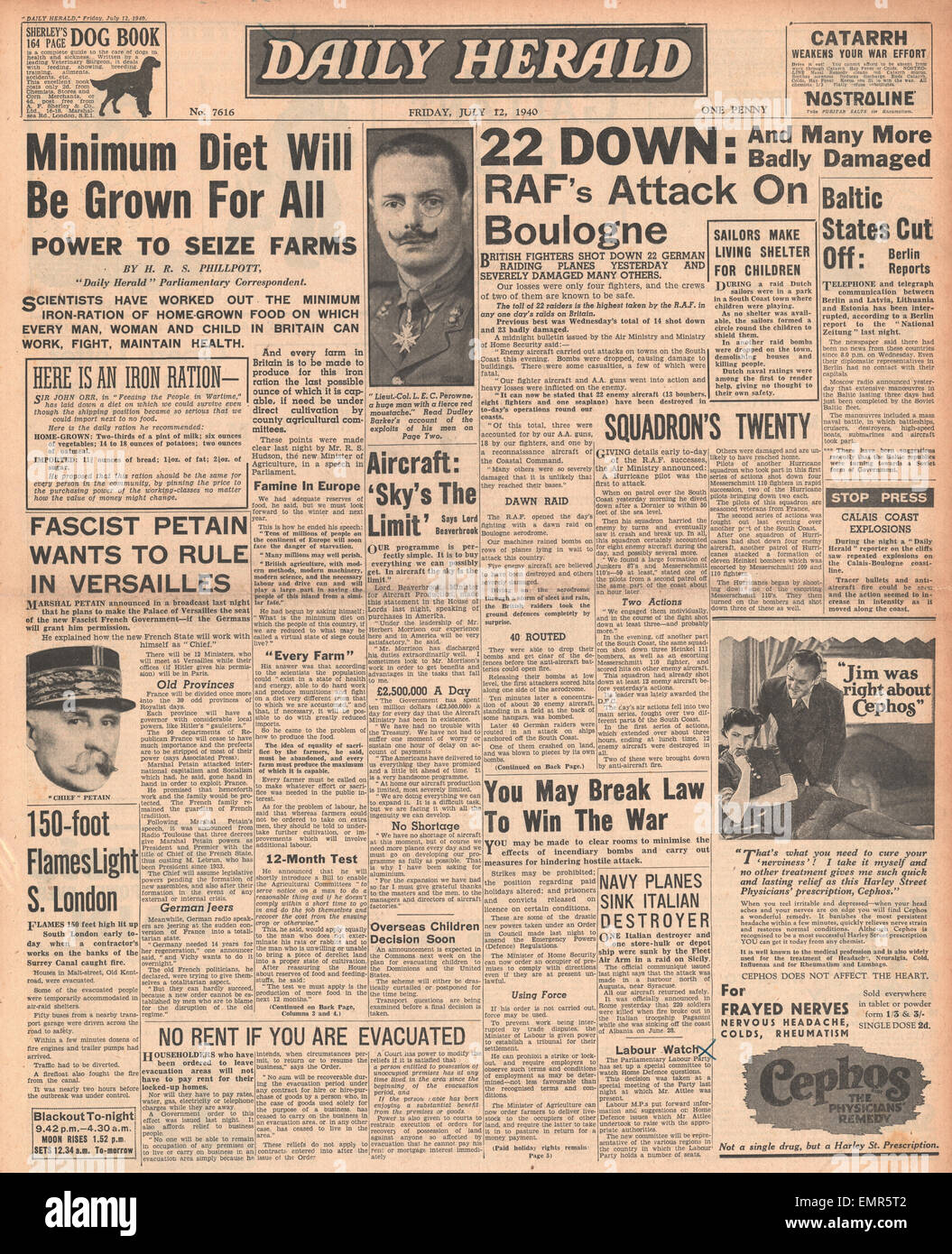 1940 front page  Daily Herald Battle of Britain Stock Photo