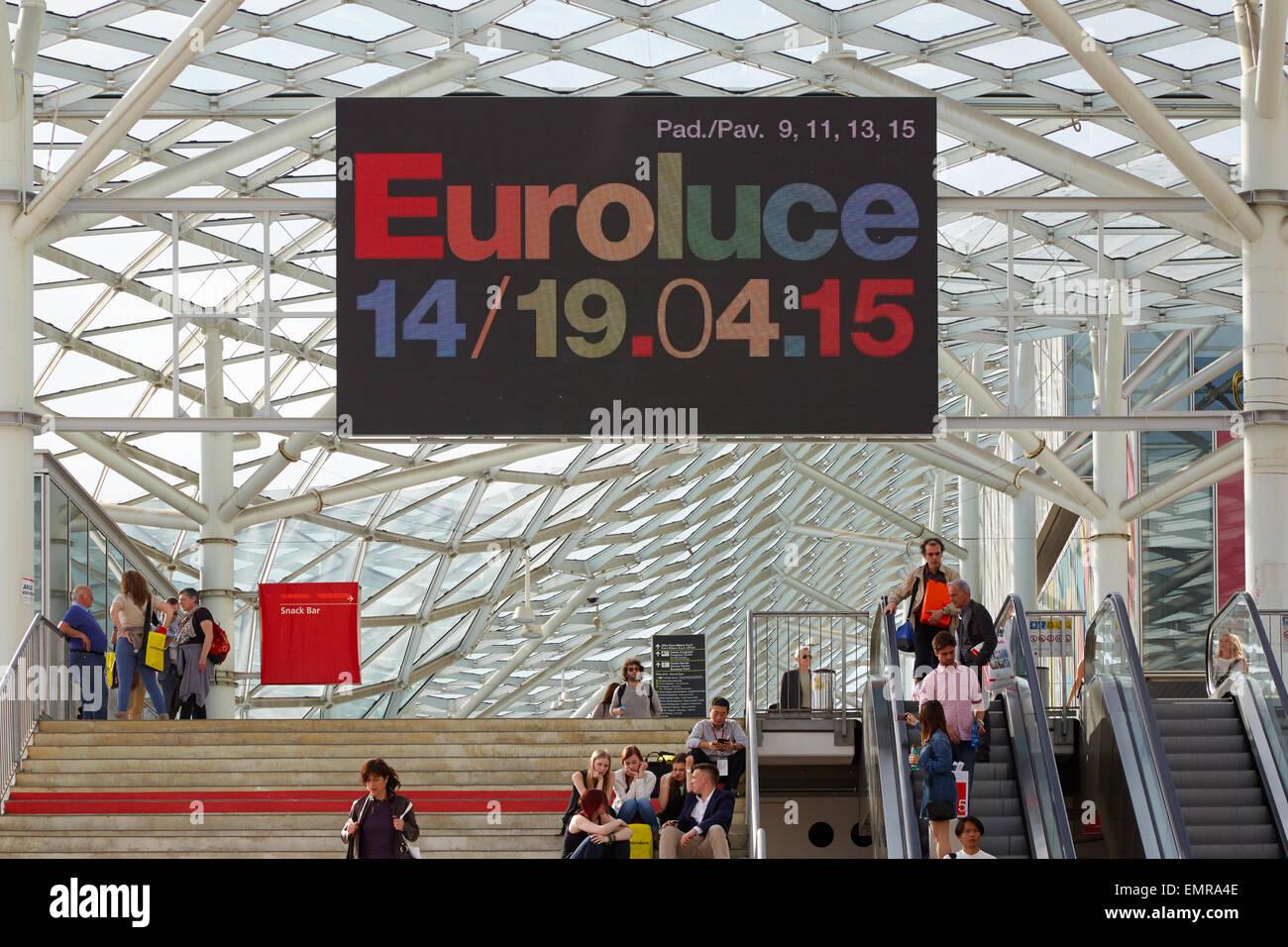 MILAN, ITALY - APRIL 14: Milan Design Week, Euroluce billboard at Salone del Mobile opening on April 15, 2015 in - Stock Image