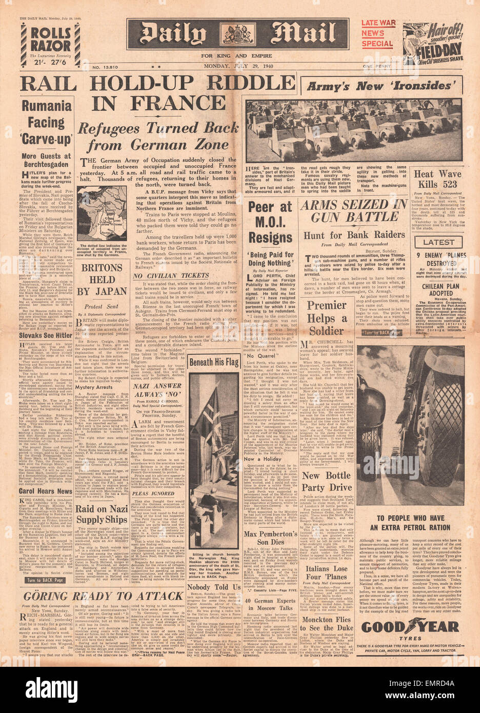 1940 front page Daily Mail France divided between occupied unoccupied new Ironside armoured vehicles - Stock Image