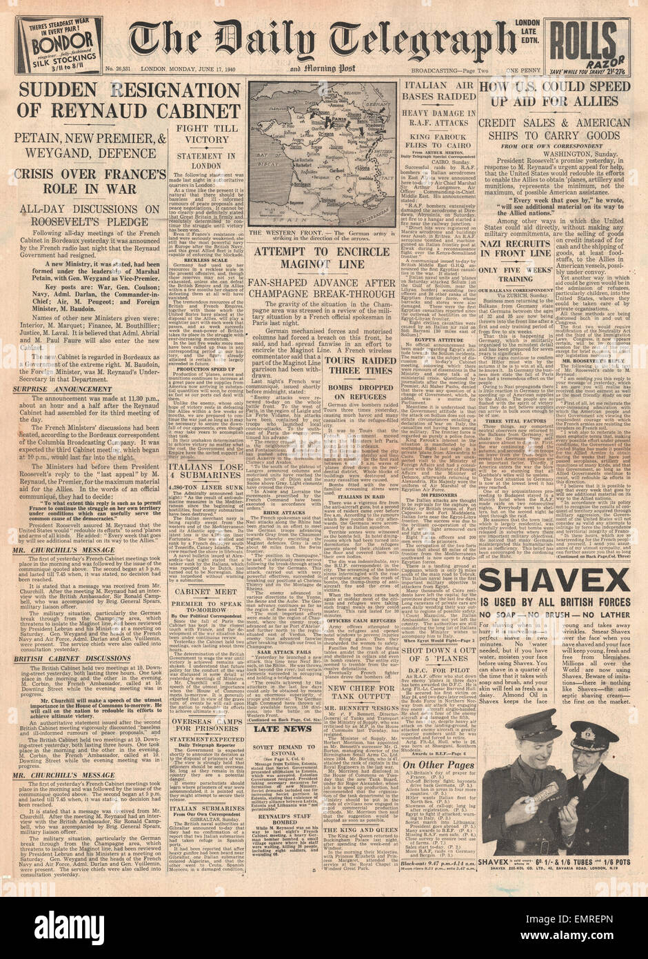 1940 front page Daily Telegraph French Cabinet resigns Marshal Petain takes over - Stock Image