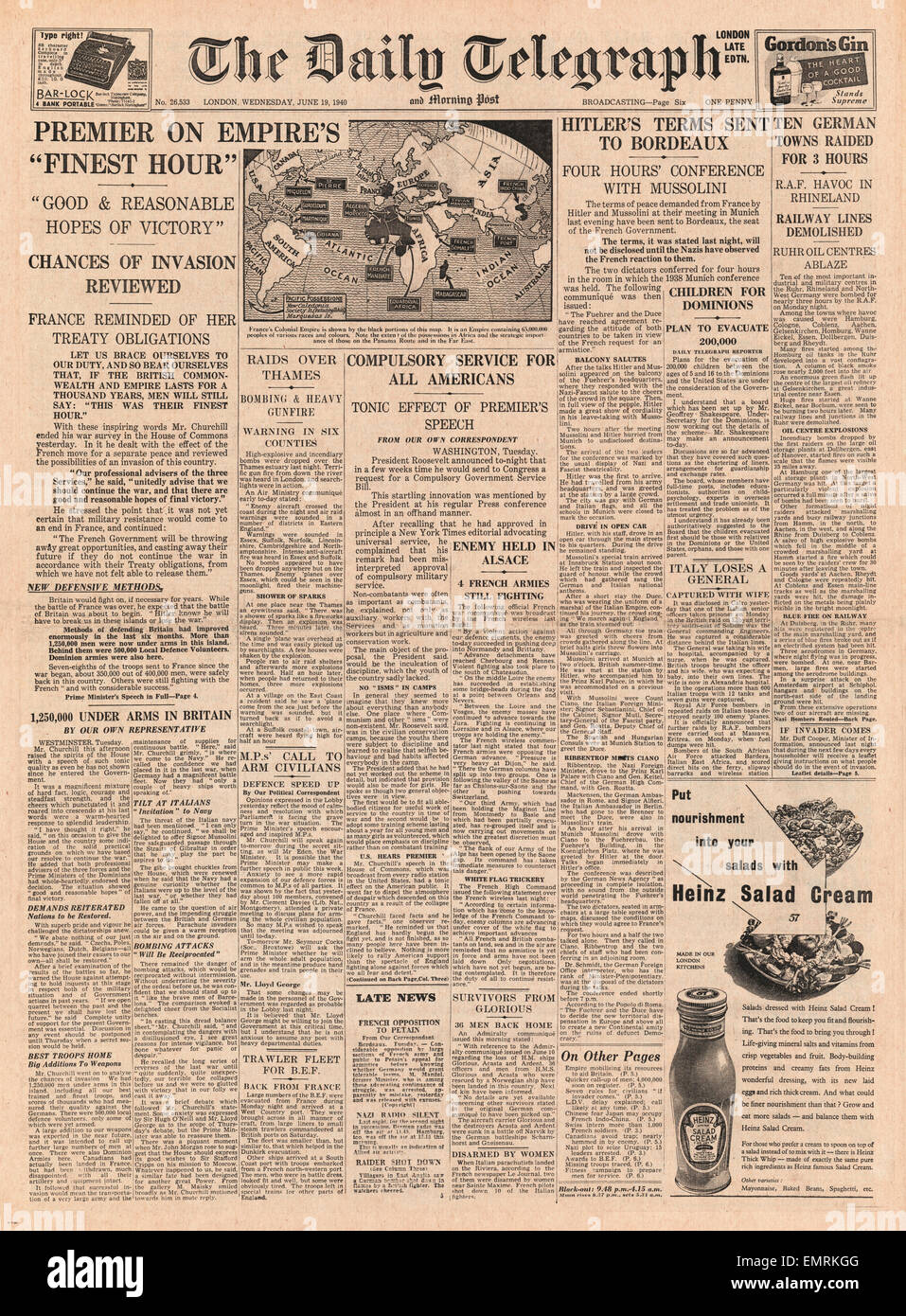 Genial 1940 Front Page Daily Telegraph Churchillu0027s U0027Finest Houru0027 Speech ...
