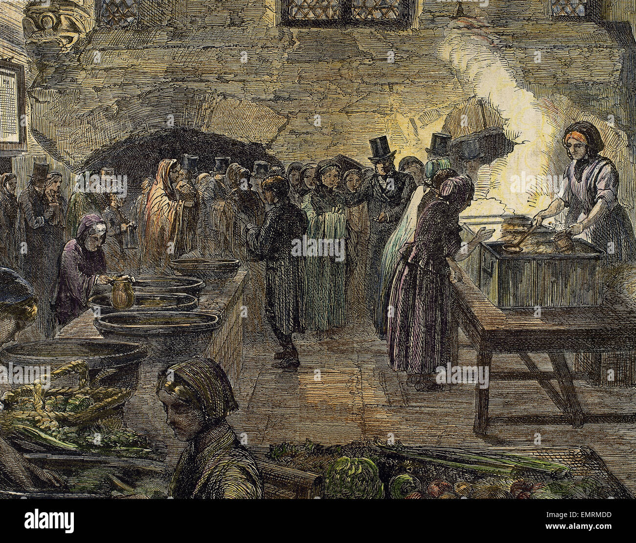 Lancashire Cotton Famine (1861-65). Depression in the textile industry of North West England. People waiting for - Stock Image