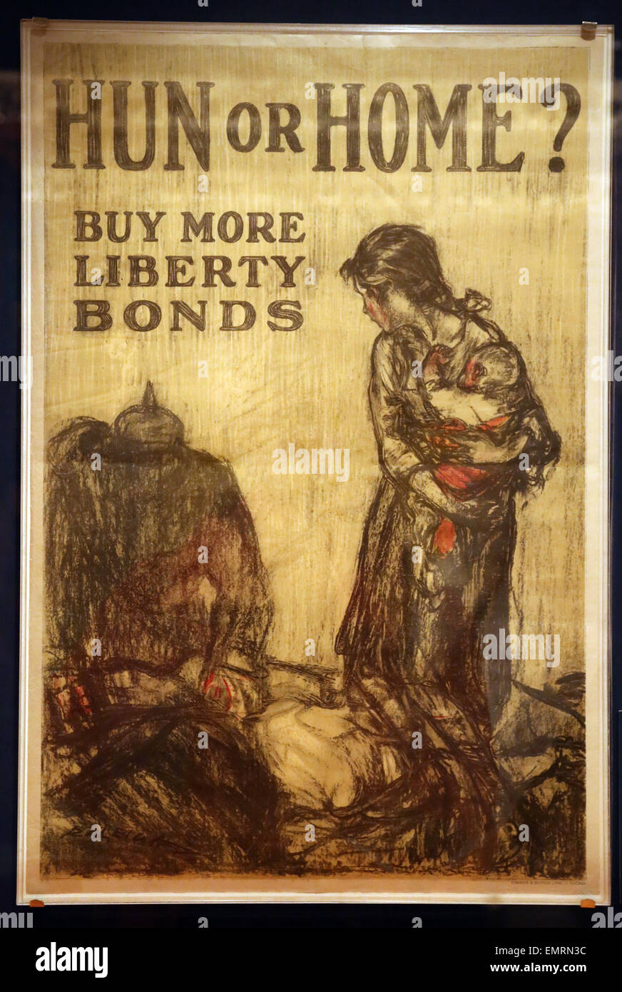 Hun or Home?. By More Liberty Bonds. Henry Raleigh.Edwards& Deutsch Litho. C., 1918. Posters issued by the U.S. - Stock Image