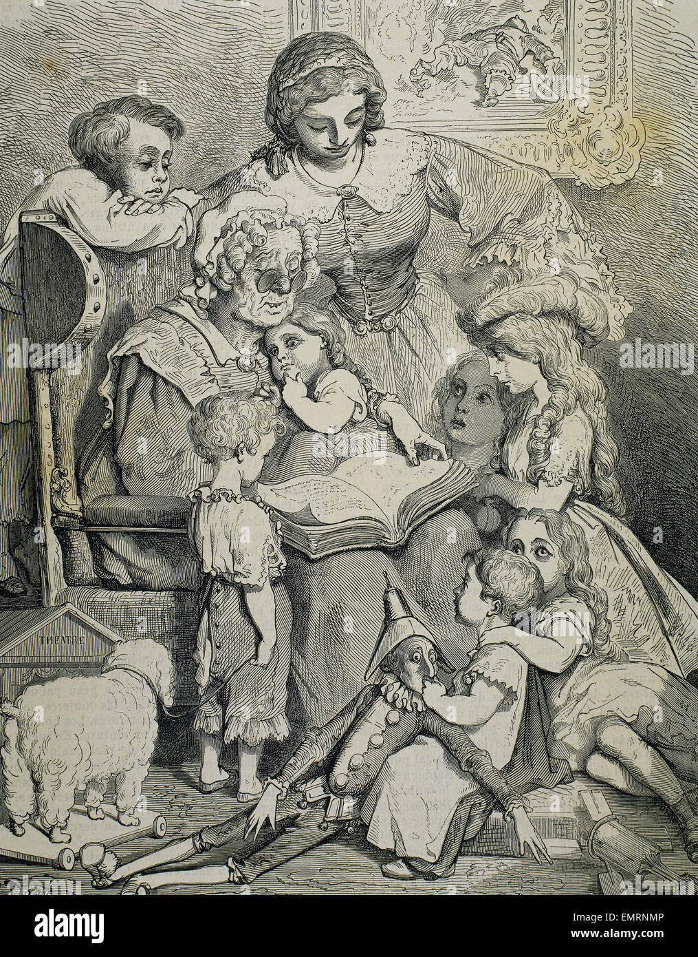 Family reading tales of Charles Perrault. Engraving by Pannemaker. 19th century. - Stock Image
