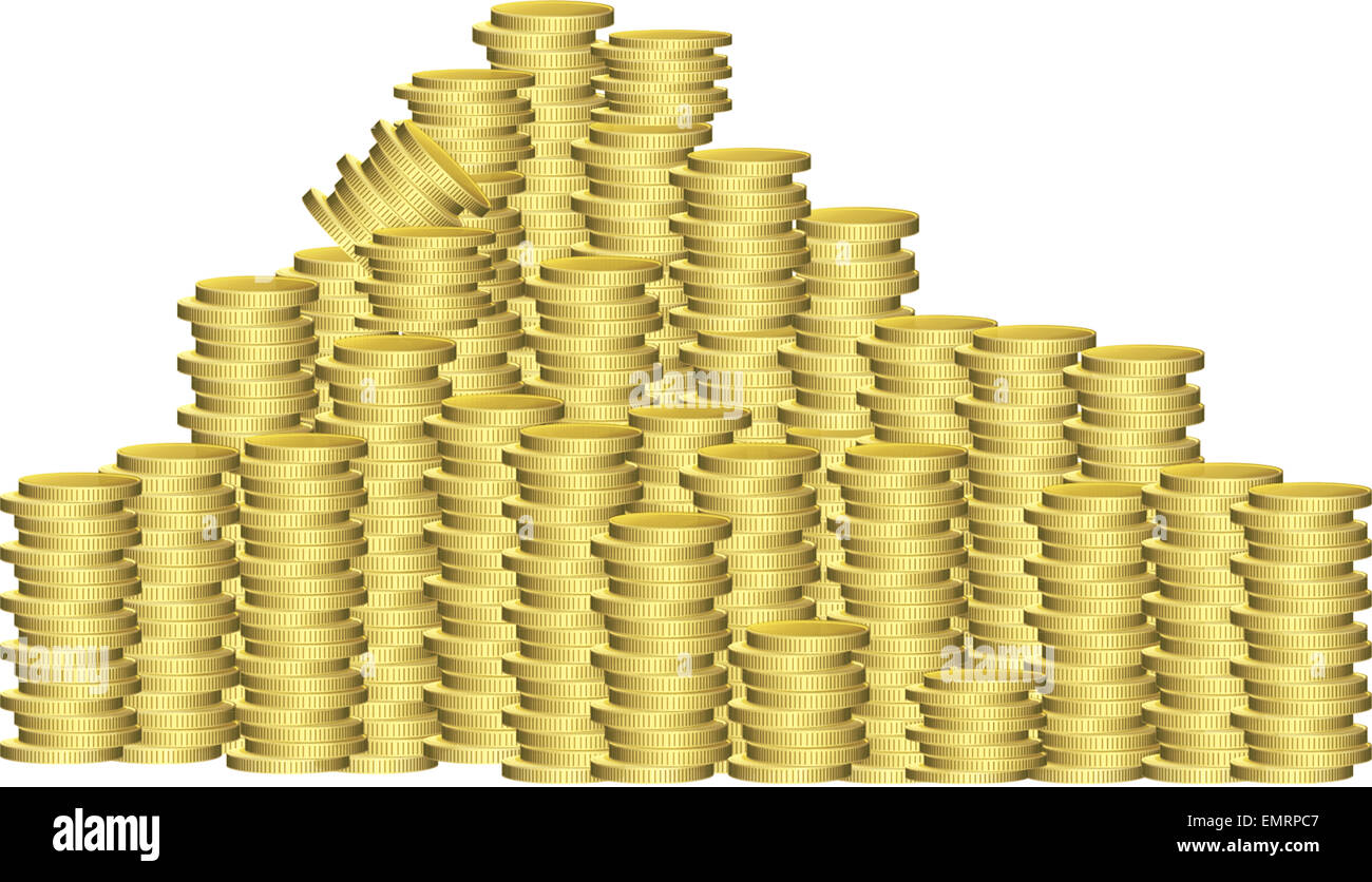 Stack - Pile of coins set on a white background. - Stock Image