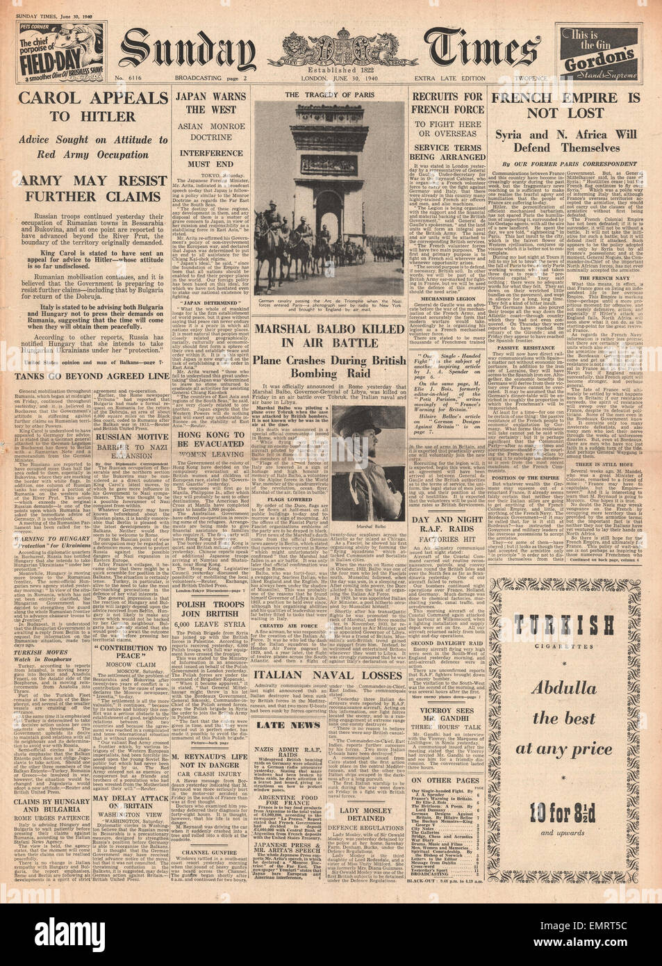 1940 front page Sunday Times King Carol appeals to Hitler