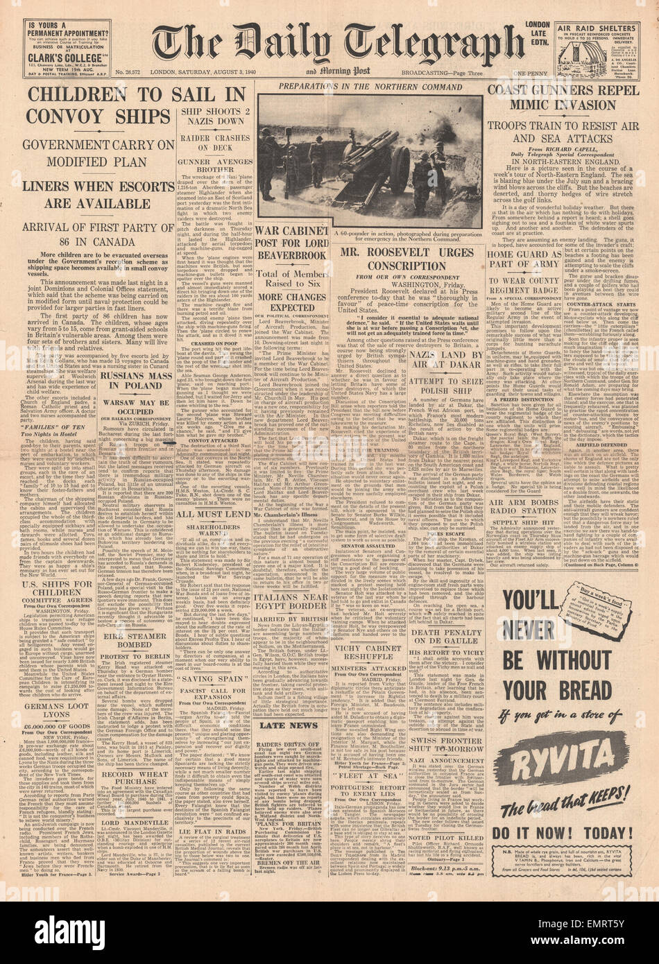 1940 front page Daily Telegraph More Children to be evacuated overseas - Stock Image