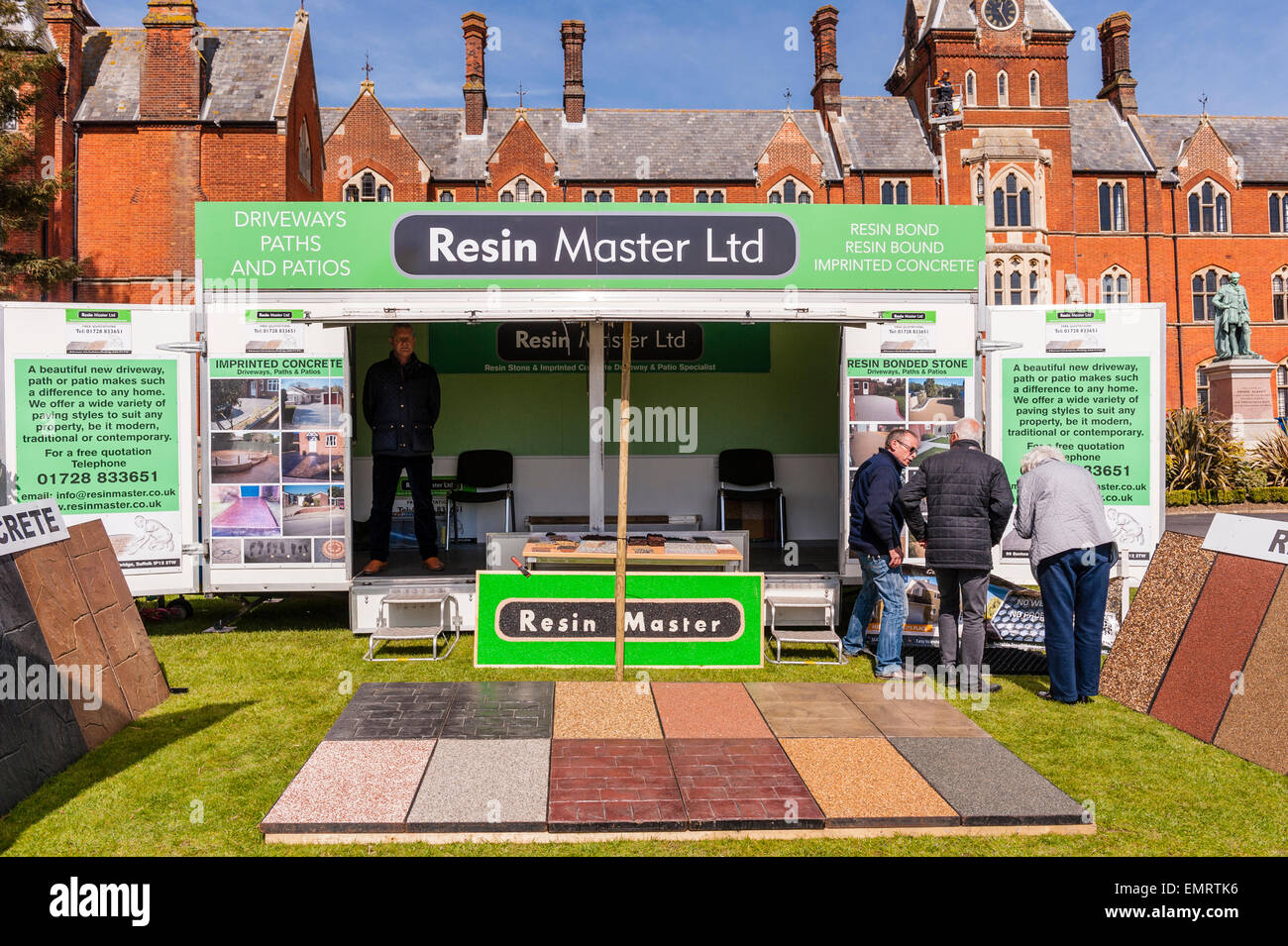 A Resin path & patio stall at Framlingham Country Show in Framlingham , Suffolk , England , Britain , Uk - Stock Image