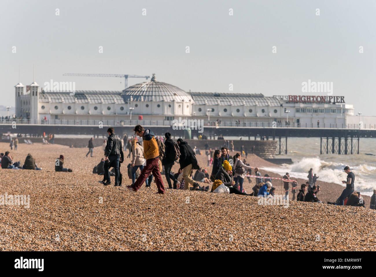 Palace Pier on Brighton Beach. - Stock Image