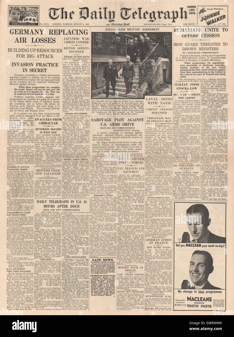 1940 front page Daily Telegraph Germany Replacing Air Losses Anglo - Polish Military Agreement  Romanians oppose Stock Photo