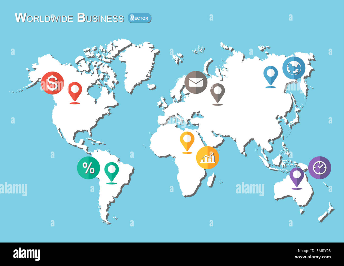 World map with pointers and business icon flat design stock photo world map with pointers and business icon flat design gumiabroncs Gallery