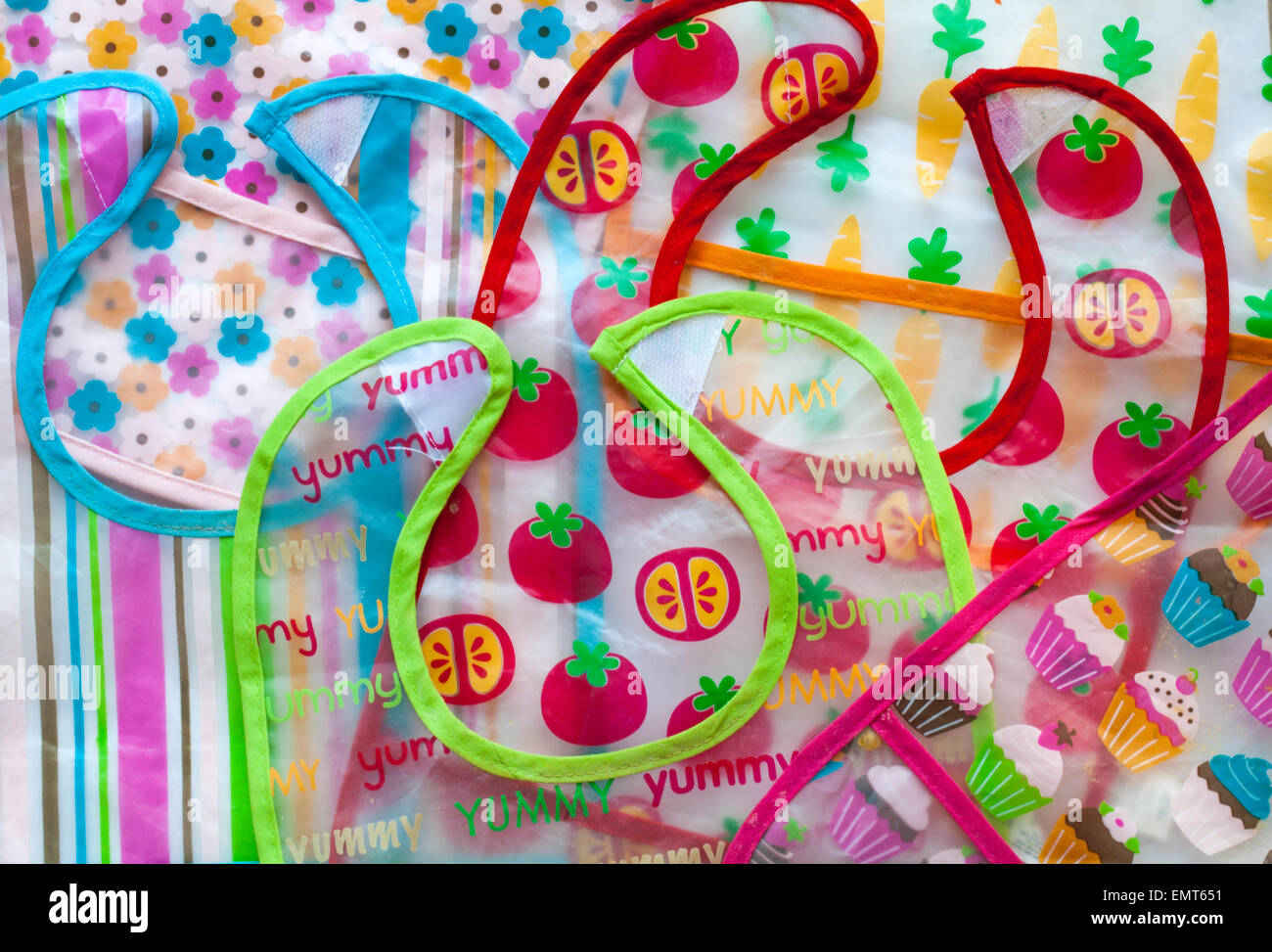 selection of baby's bibs - Stock Image