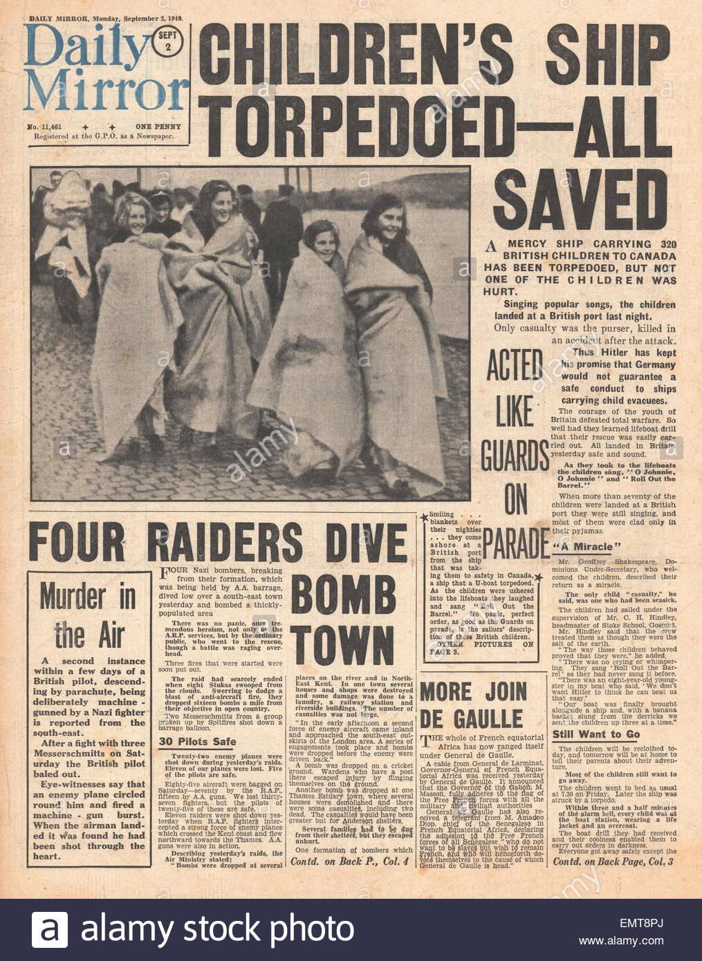 1940 Front Page Daily Mirror German Submarine U 60 Torpedoes Evacuee Liner Ss Volendam Battle Of Britain