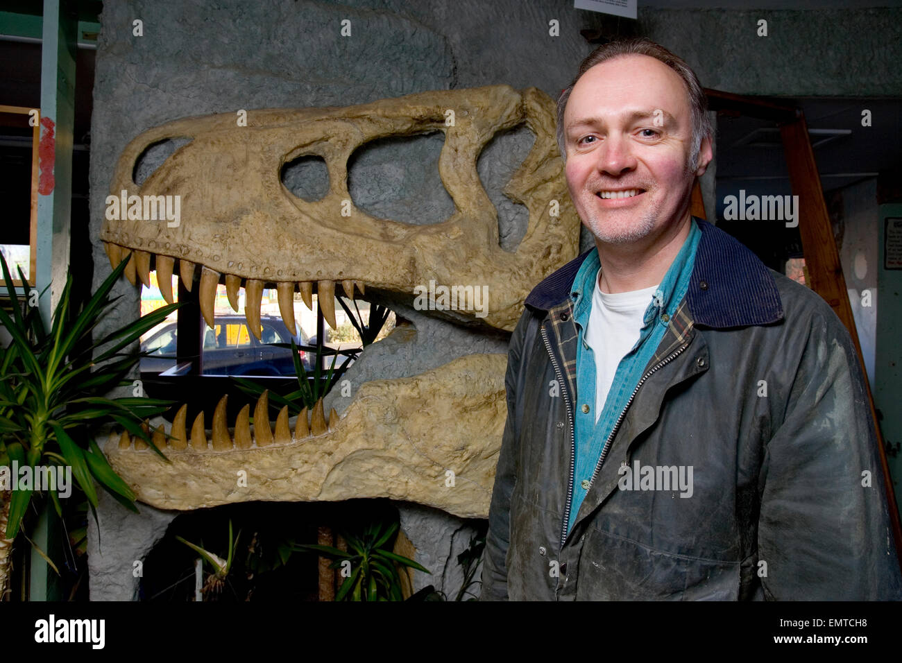 Martin Simpson, fossil collector, Blackgang Chine, Isle of Wight, England,UK, - Stock Image