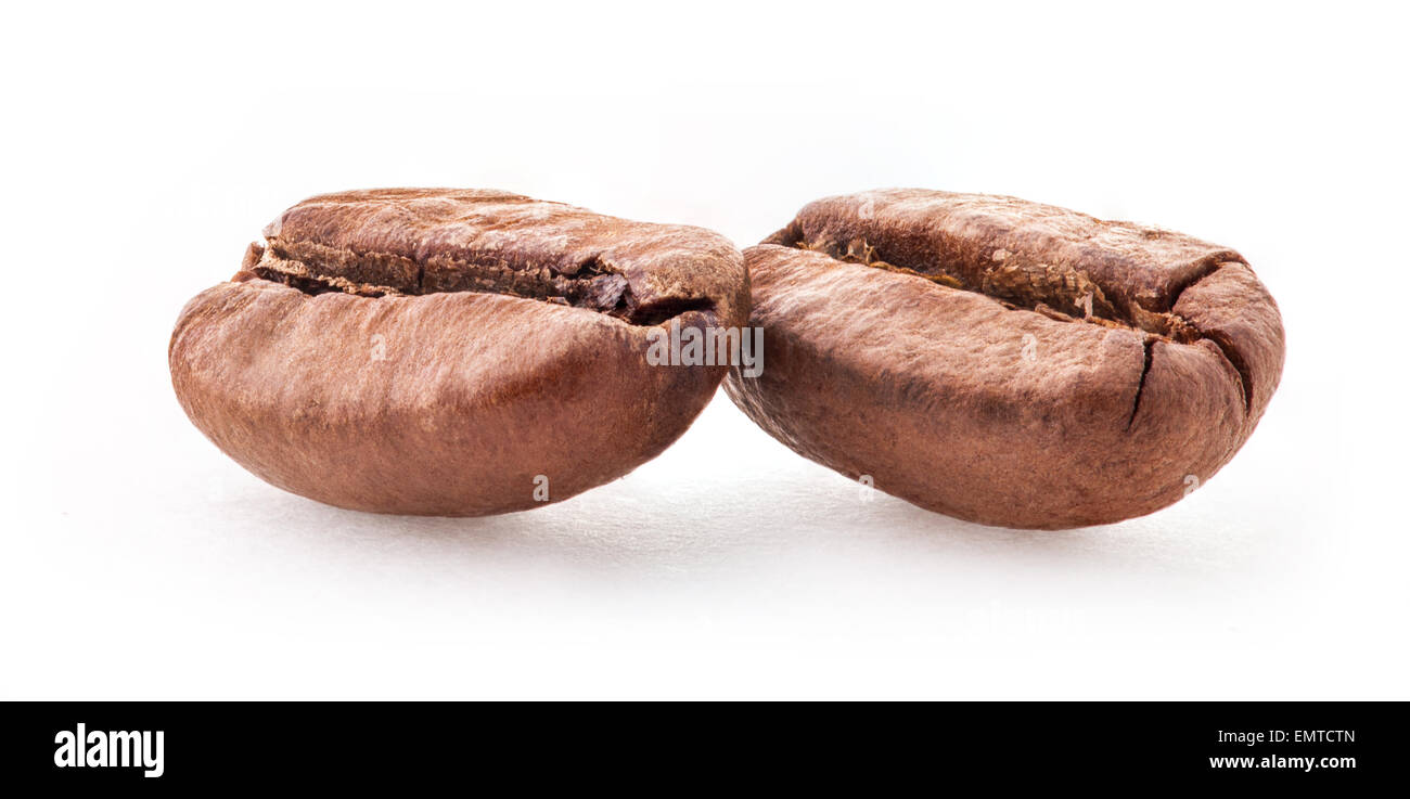 Coffee beans isolated on white background - Stock Image