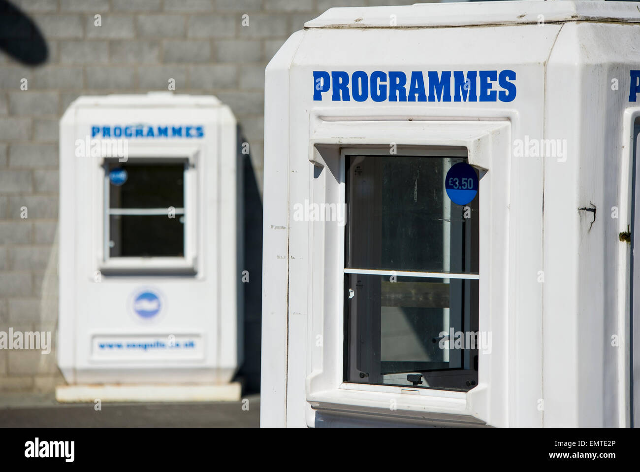 Programme boxes at football team Brighton and Hove Albion The American Express stadium in Falmer, Brighton - Stock Image