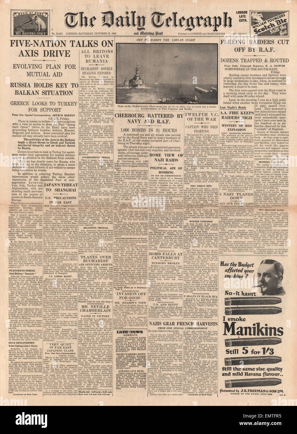 1940 front page Daily Telegraph  Five Nation Talks on Axis Drive RAF Royal Navy bomb Cherbourg - Stock Image