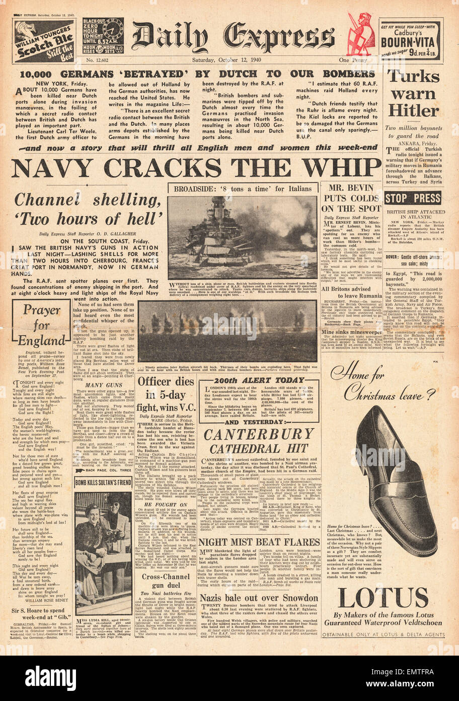 1940 front page Daily Express Royal Navy bombard Cherbourg - Stock Image