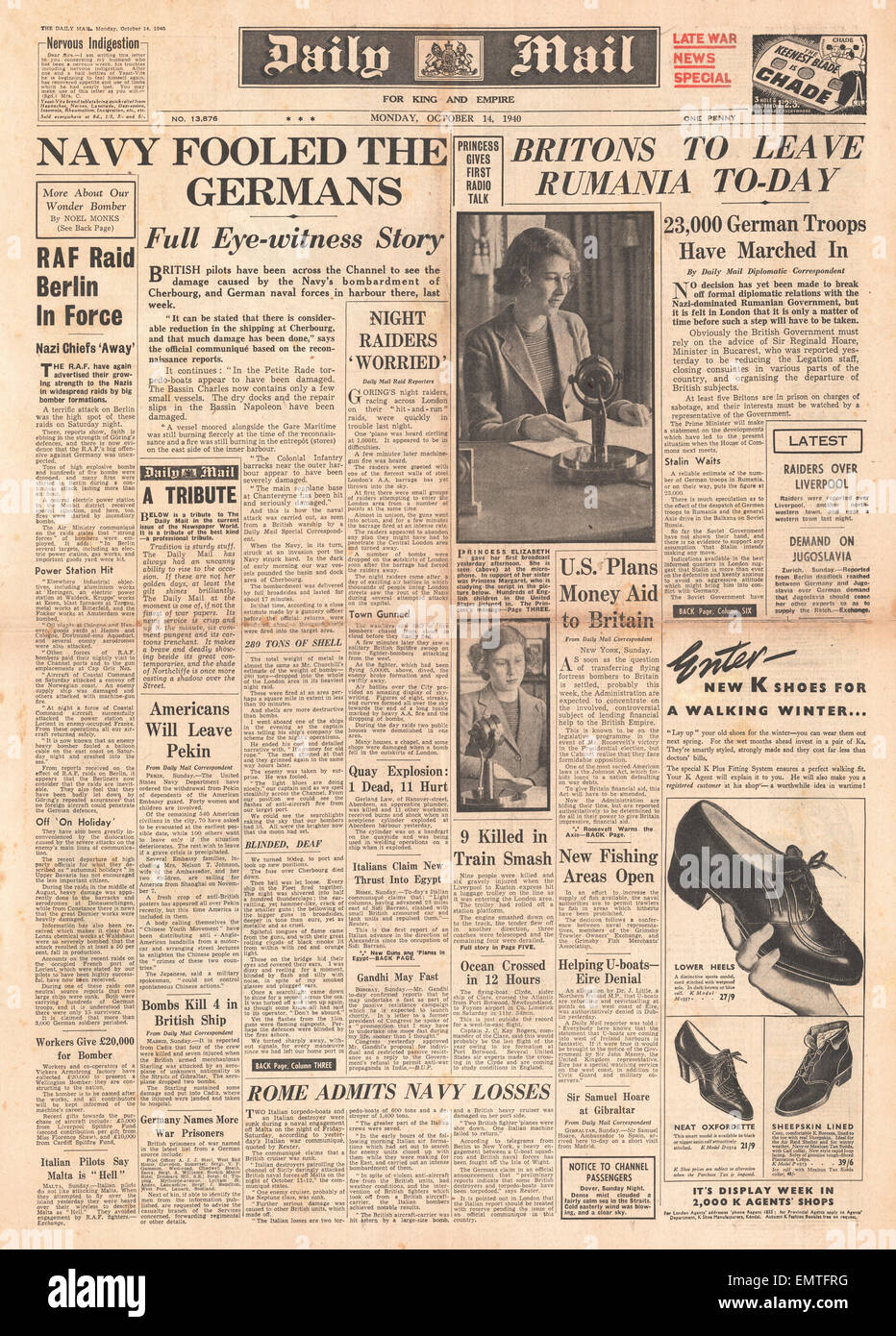 1940 front page Daily Mail Royal Navy bombard Cherbourg Princess Elizabeth makes her first broadcast speech - Stock Image