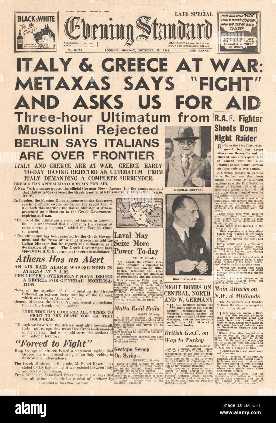 1940 front page Evening Standard Italy at War with Greece Stock Photo