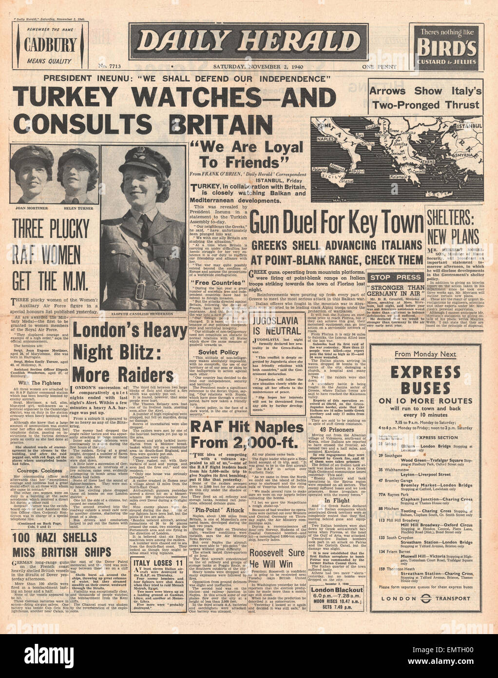 1940 front page Daily Herald Turkey to stay allies of Britian three WAAF women win the Military Medal - Stock Image