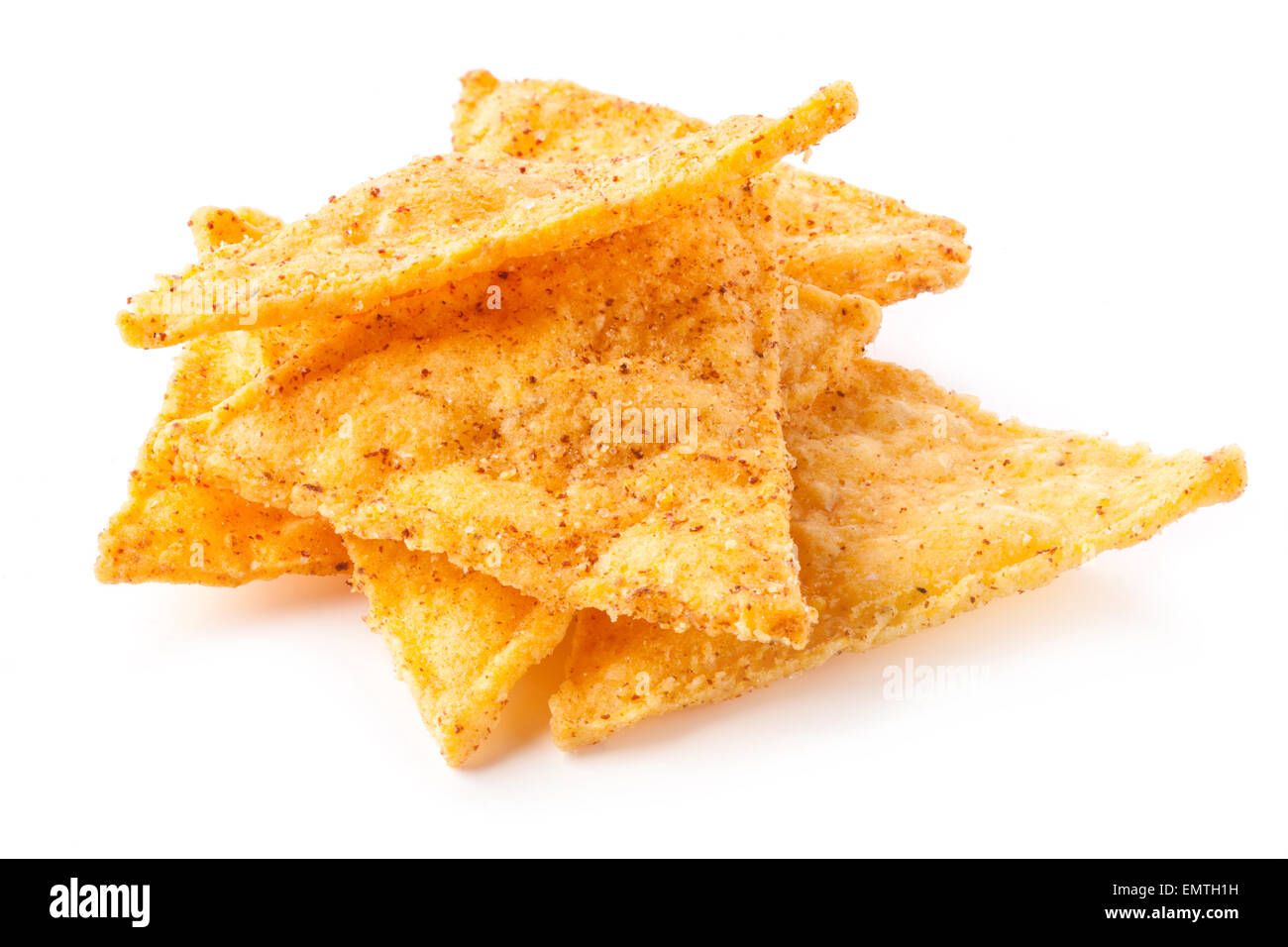 Corn chips with pepper isolated on white - Stock Image