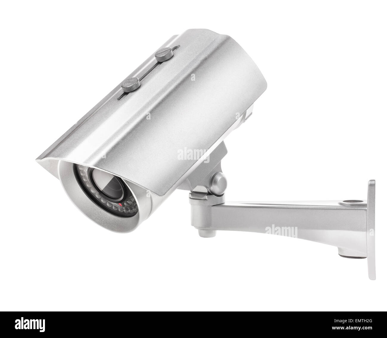 Surveillance camera isolated on white background, with clipping paths Stock Photo