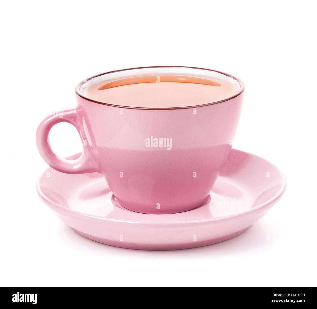 Pink cup of tea isolated on white background - Stock Image