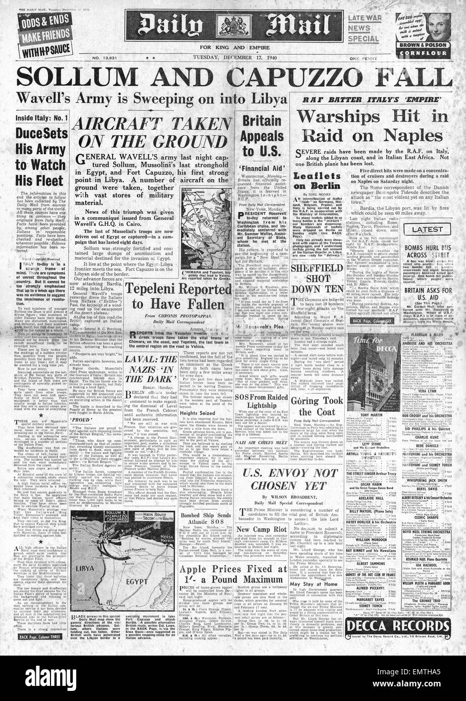 1940 front page Daily Mail British Army capture Sollum Fort Capuzzo advance into Libya Stock Photo