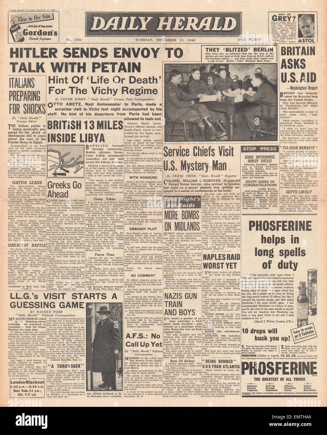 1940 front page Daily Herald Hitler sends envoy to talk with Petain - Stock Image