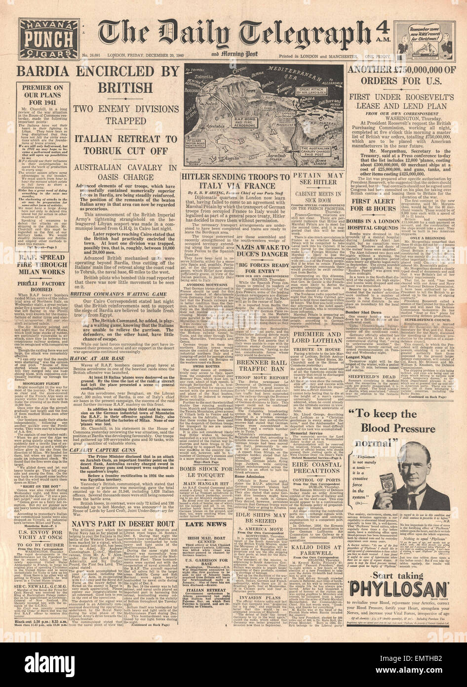 1940 front page Daily Telegraph Italian Army cut off in Bardia multi-million pound order by Britain for U.S.supplies - Stock Image