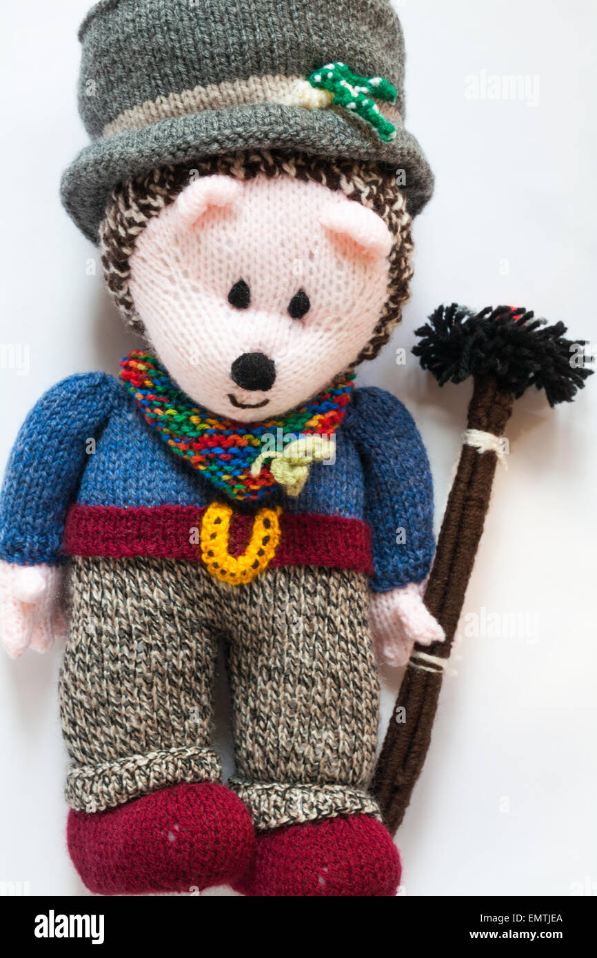 Knitted doll -  lucky chimney sweep for a wedding set on white background - Stock Image