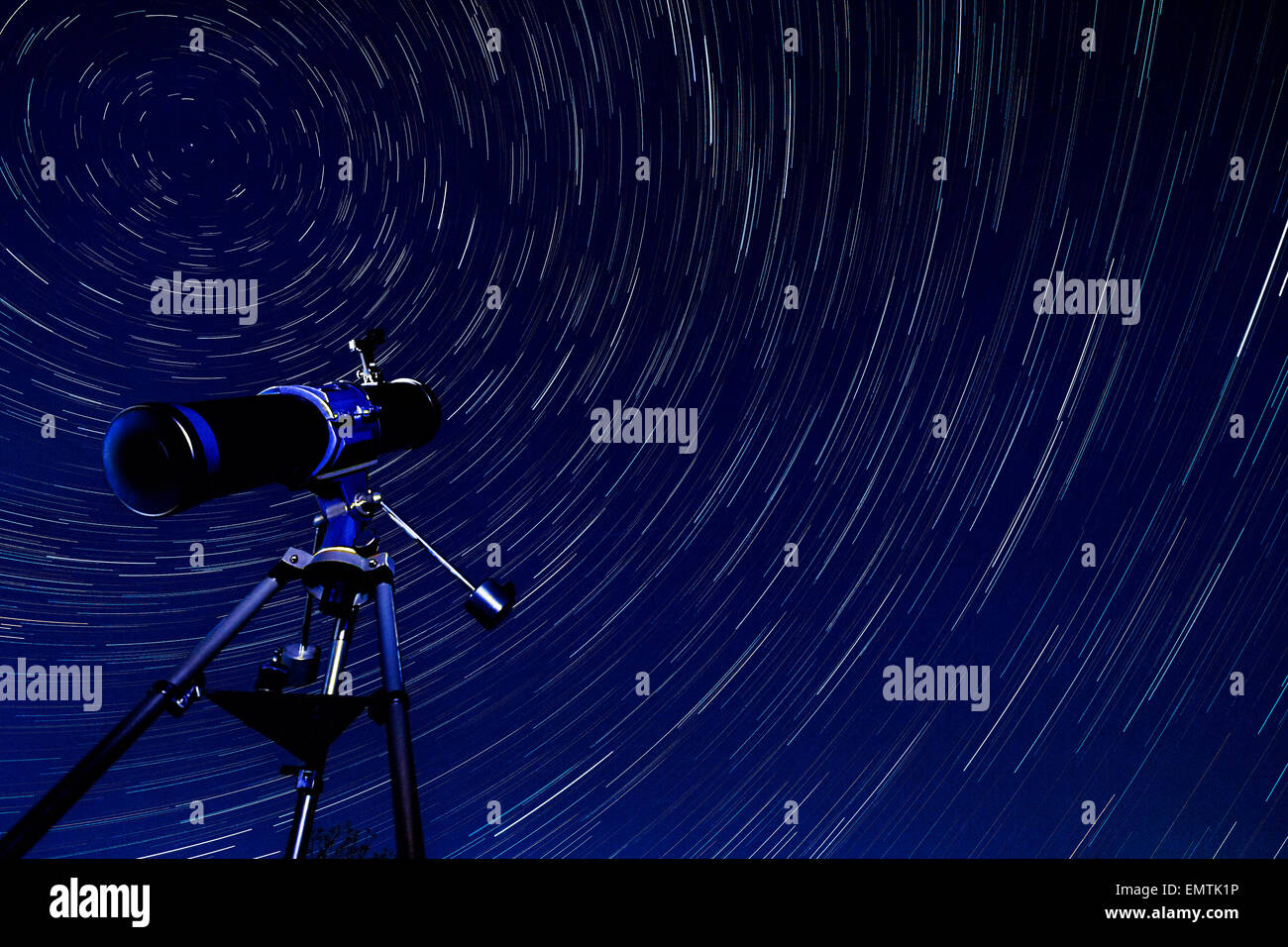 Astronomy - Star Trails in the early Spring sky in North Yorkshire in the United Kingdom. - Stock Image