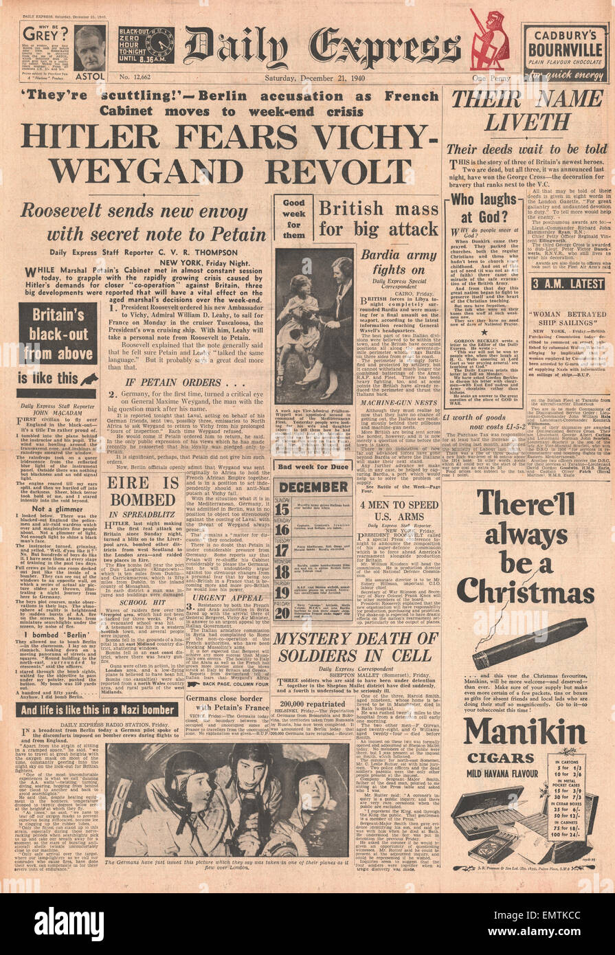 1940 front page Daily Express Hitler concern over Weygand-Petain decision on cooperation - Stock Image