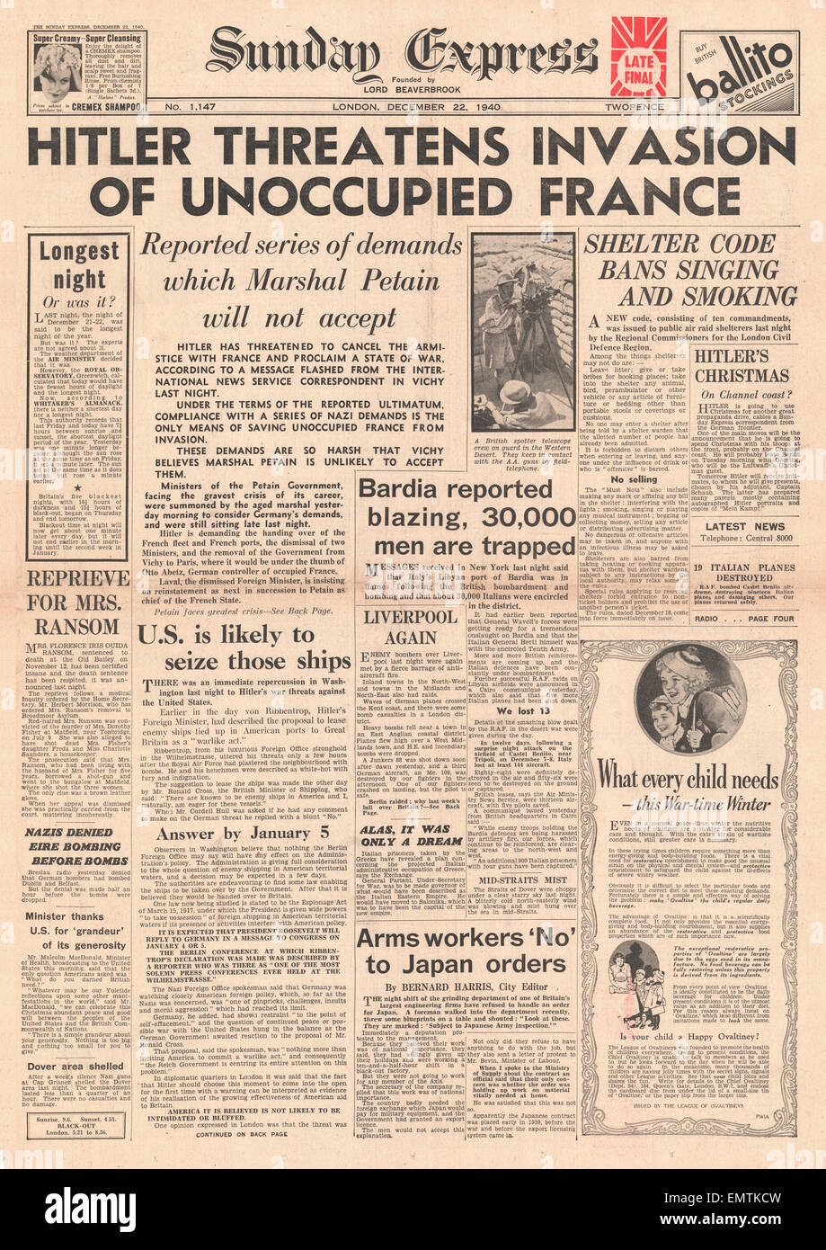 1940 front page Sunday Express Hitler threatens invasion of unoccupied France - Stock Image