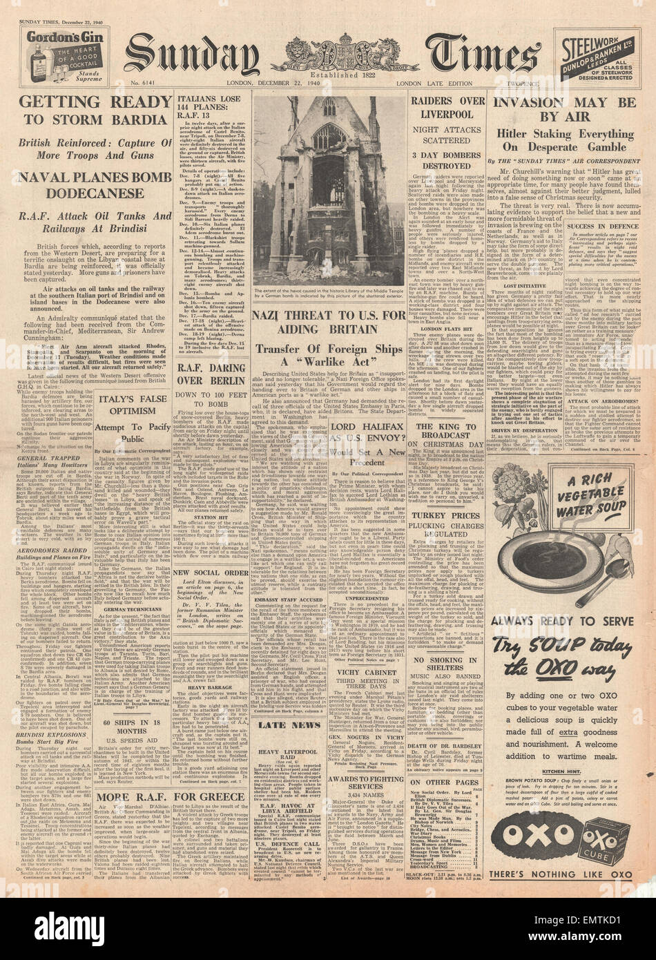 1940 front page Sunday Times British forces ready to take Bardia Hitler threatens U.S. for aiding Britain - Stock Image