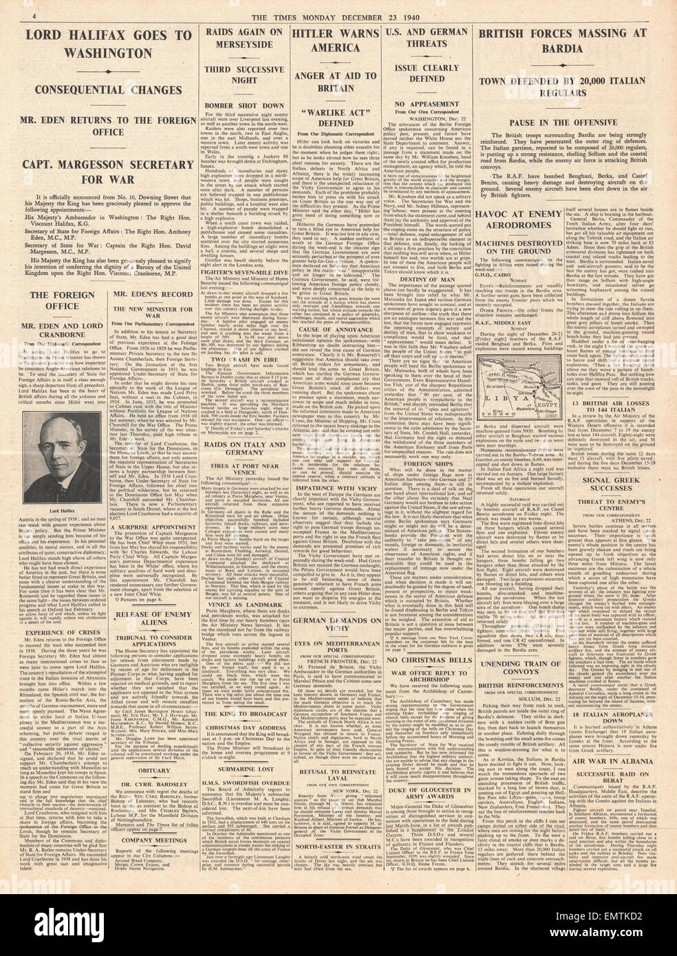1940 page 4 The Times Cabinet reshuffle, British forces ready to take Bardia Hitler threatens U.S. for aiding Britain - Stock Image