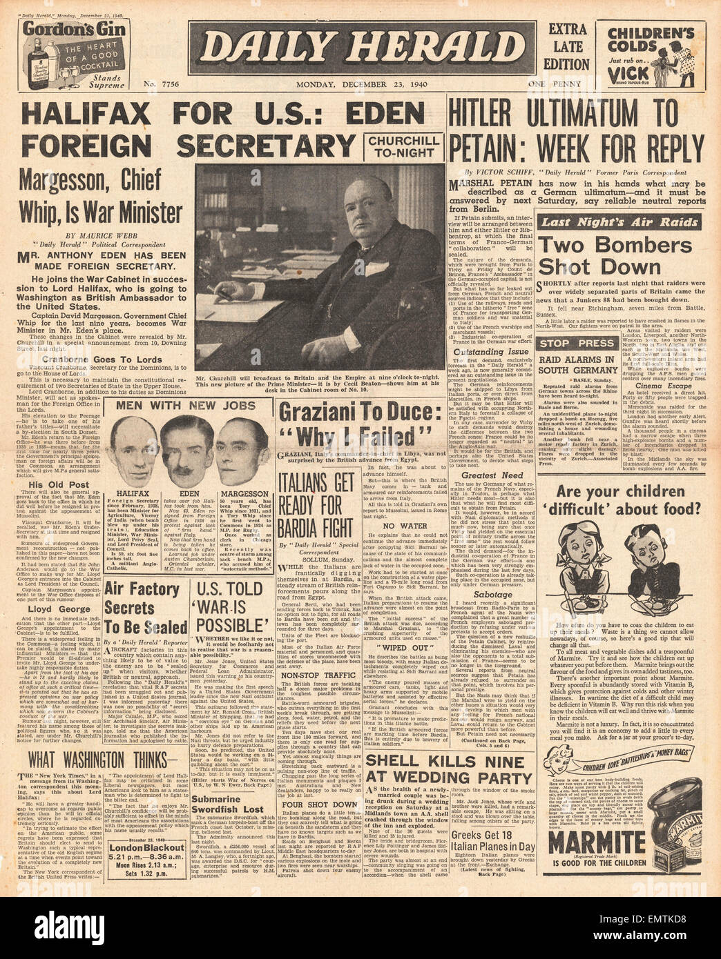1940 front page Daily Herald Cabinet reshuffle, Lord Halifax is the new British Ambassador in the U.S. Hitler gives - Stock Image