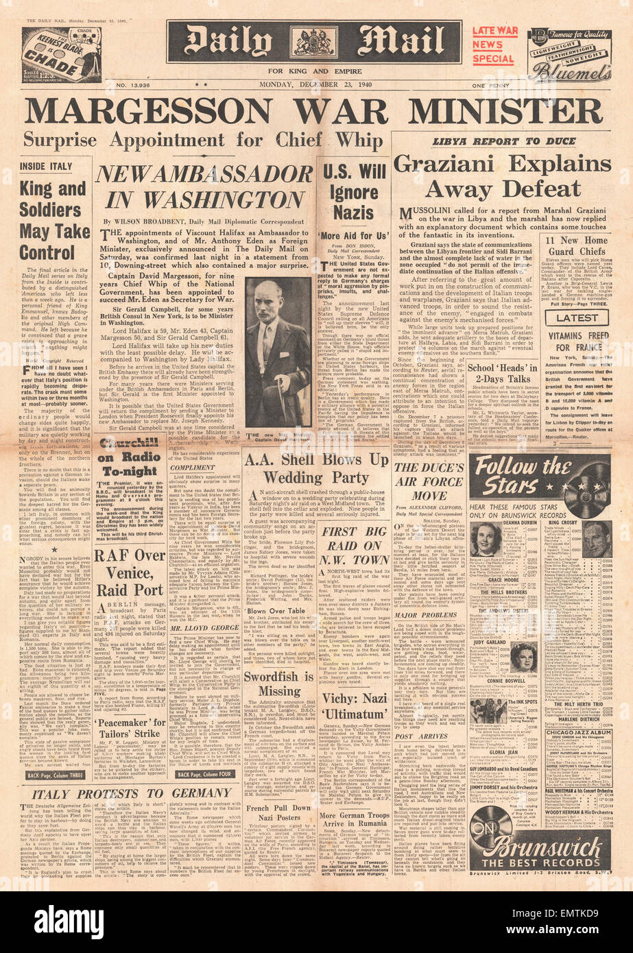 1940 front page Daily Mail Cabinet reshuffle David Margesson is the new Secretary for War - Stock Image
