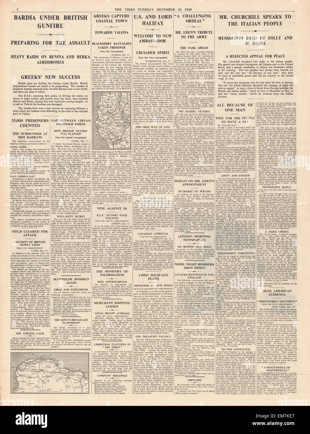 1940 page 4 The Times Churchill calls on Italy to oust Mussolini Bardia comes under British gunfire - Stock Image