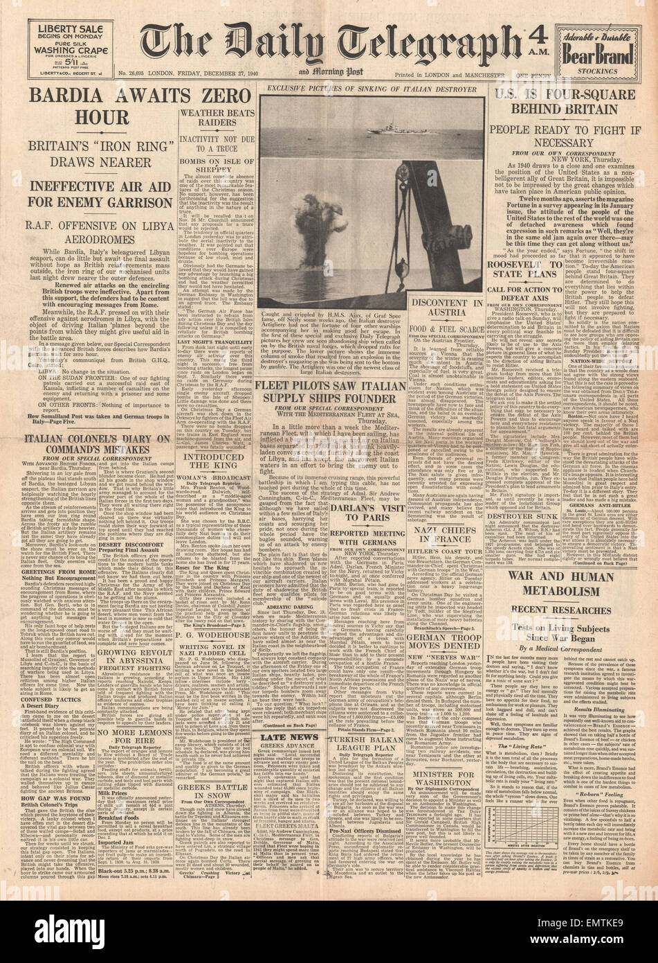 1940 front page Daily Telegraph British forces close in on Bardia - Stock Image