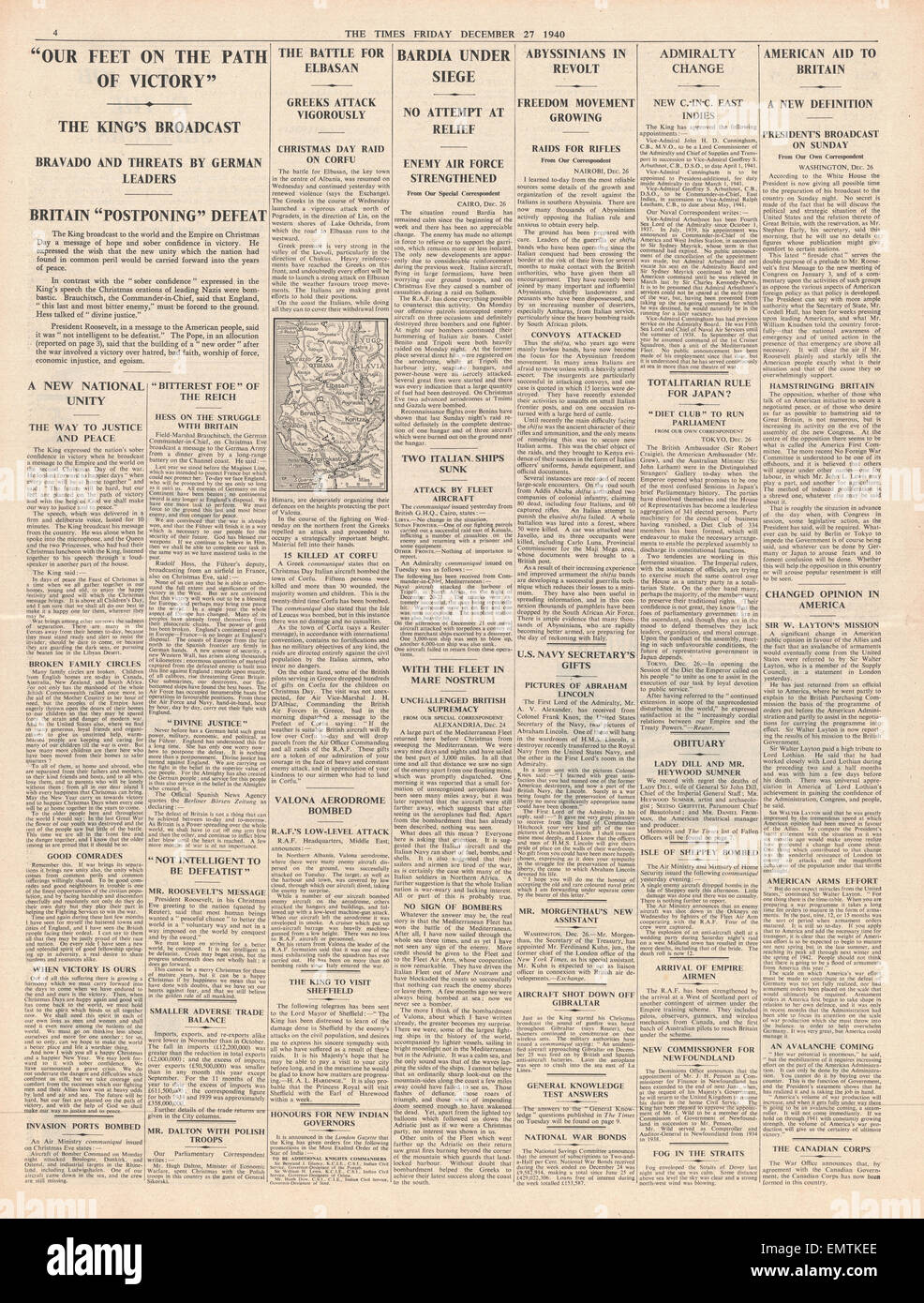 1940 page 4 The Times King George VI broadcasts   Christmas Day message - Stock Image