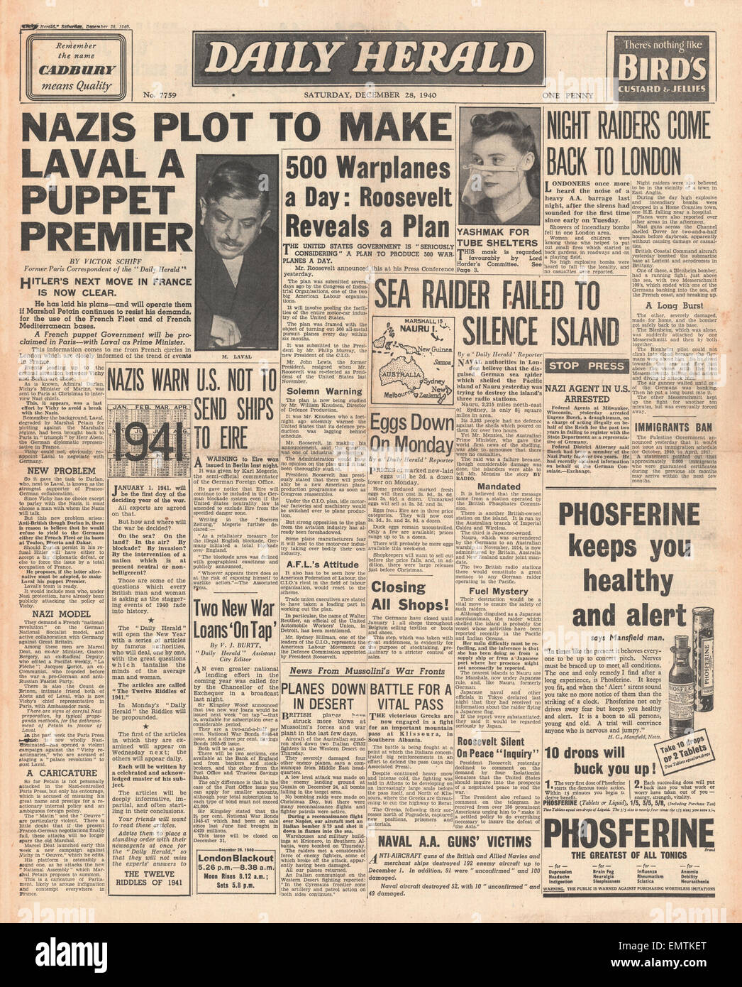 1940 front page Daily Herald German plot to make Laval premier of France - Stock Image