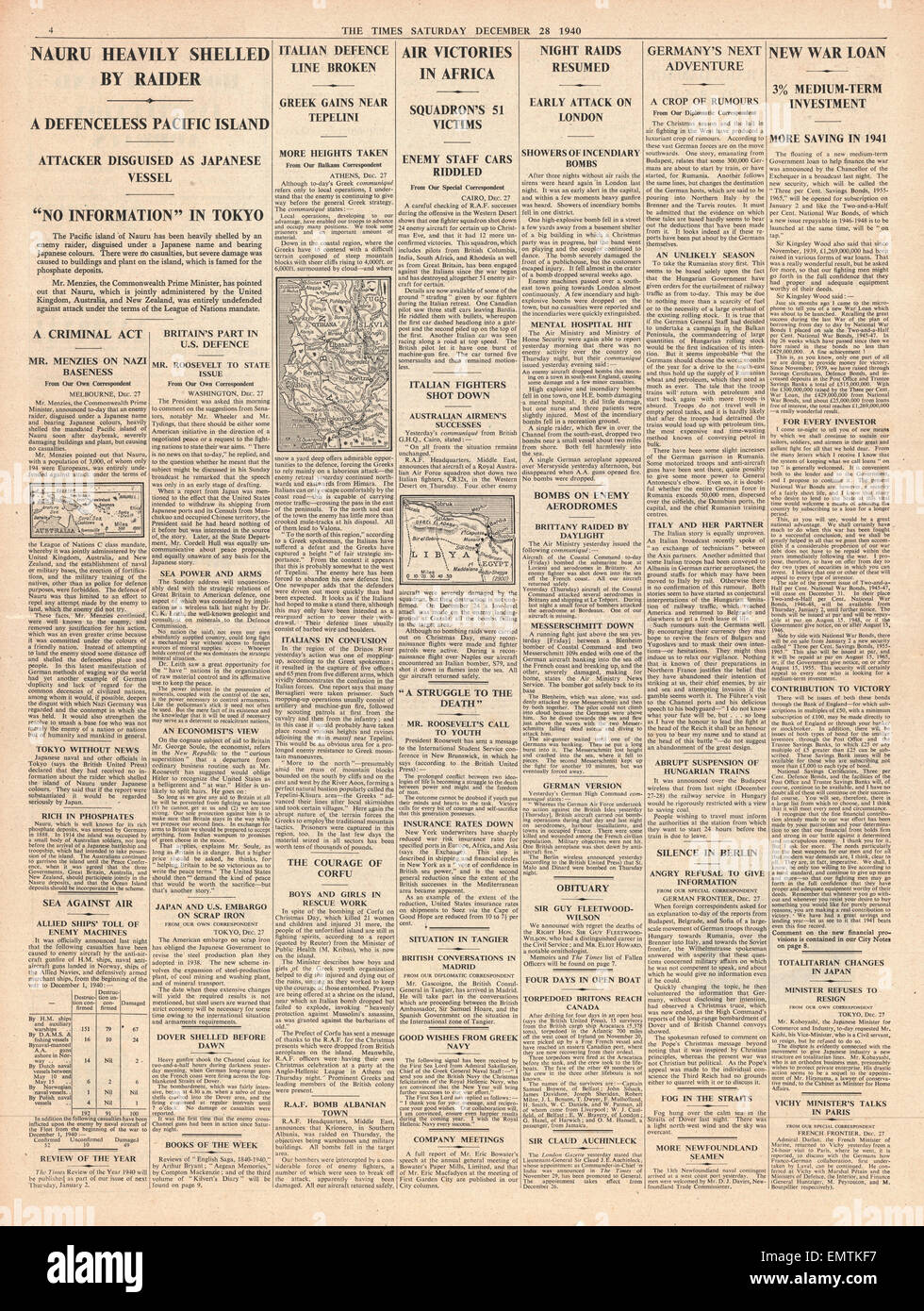 1940 page 4 The Times Island of Nauru shelled - Stock Image