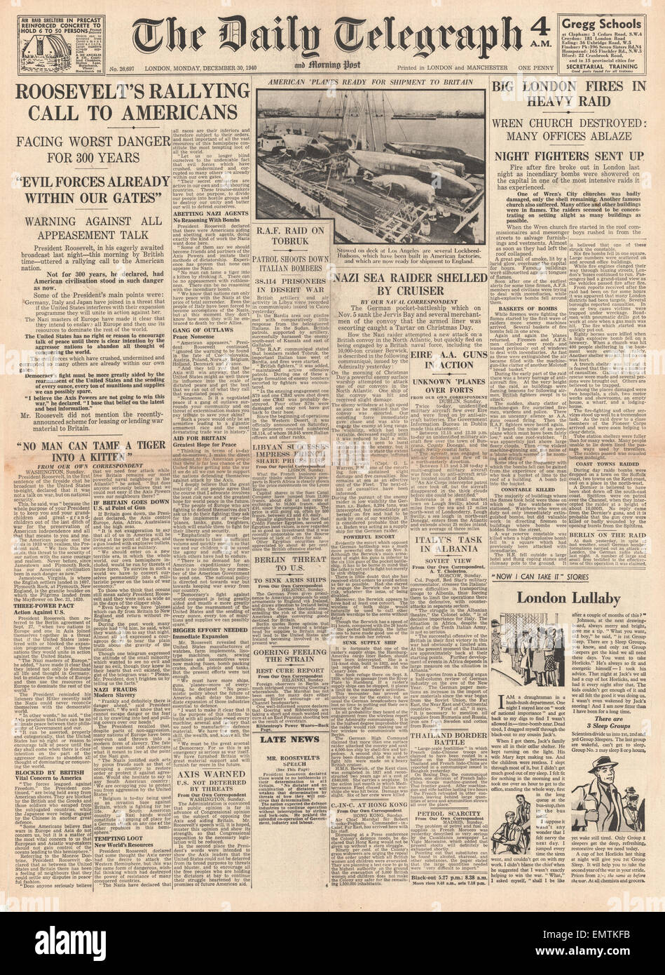1940 front page Daily Telegraph Big bombing raid on London Roosevelt rallying call to America - Stock Image