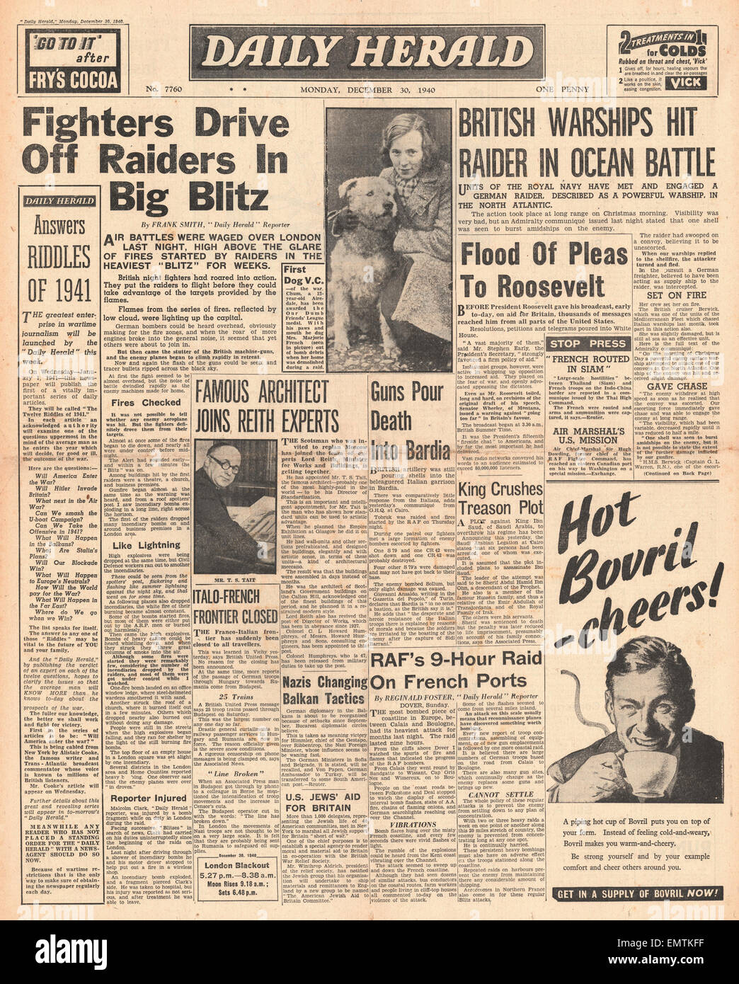 1940 front page Daily Herald Big bombing raid on London Roosevelt rallying call to America - Stock Image
